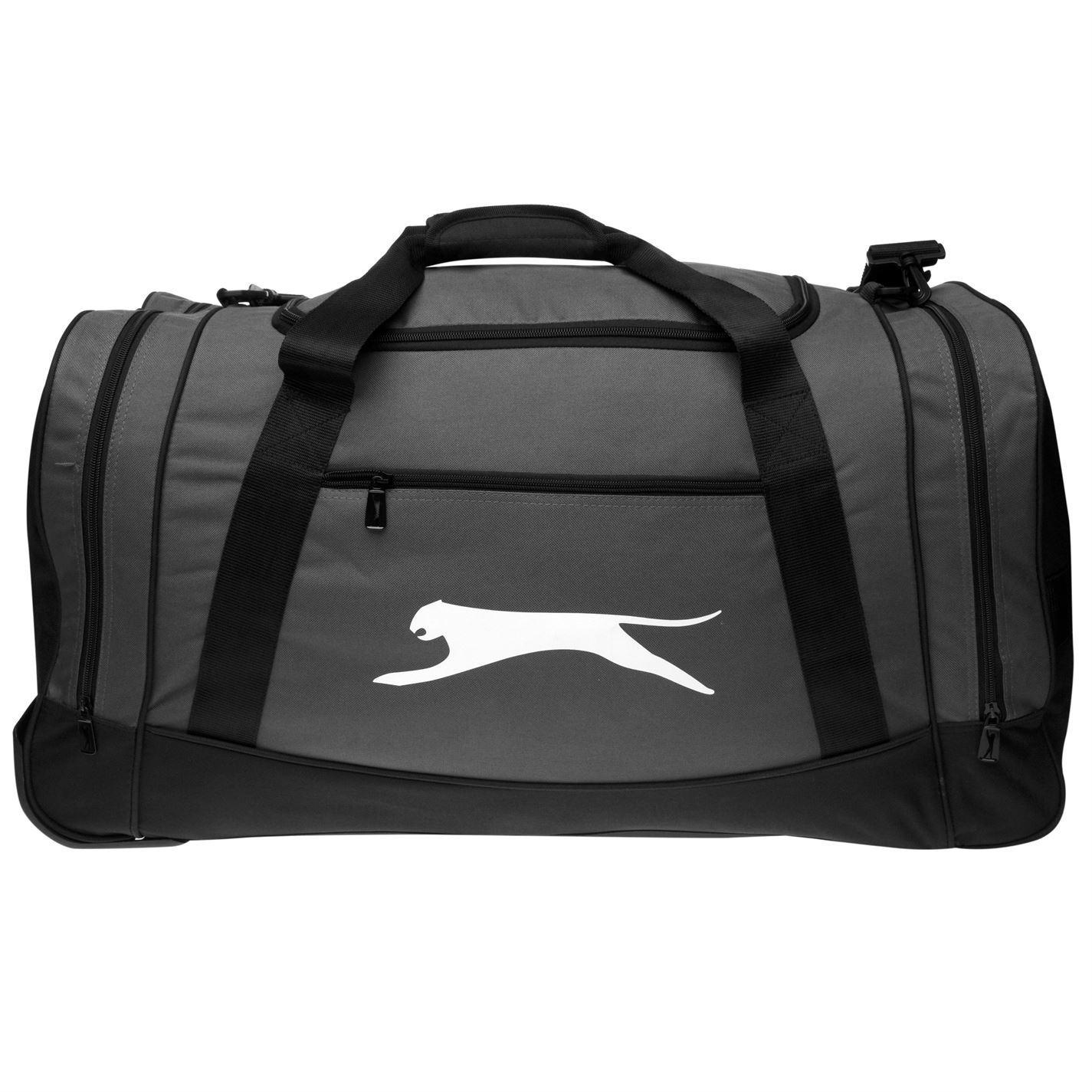 Slazenger Wheel Holdall Charcoal Sports Kit Bag Gymbag Carryall