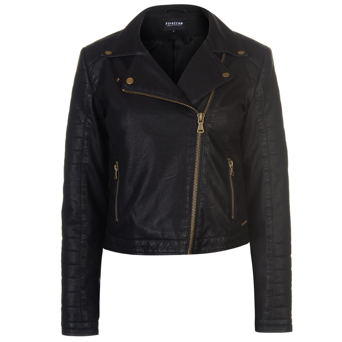 Kate Biker Jacket Blackseal Black gold Coats Firetrap Womens Outerwear 1xOgqS