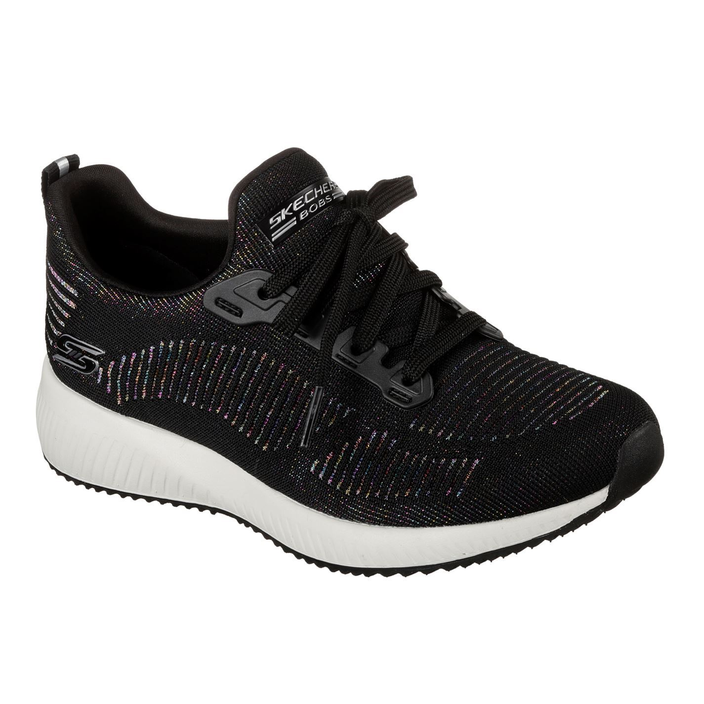 Details about Skechers Bobs Sport Squad Metallic Trainers Ladies Shoes Womens Footwear