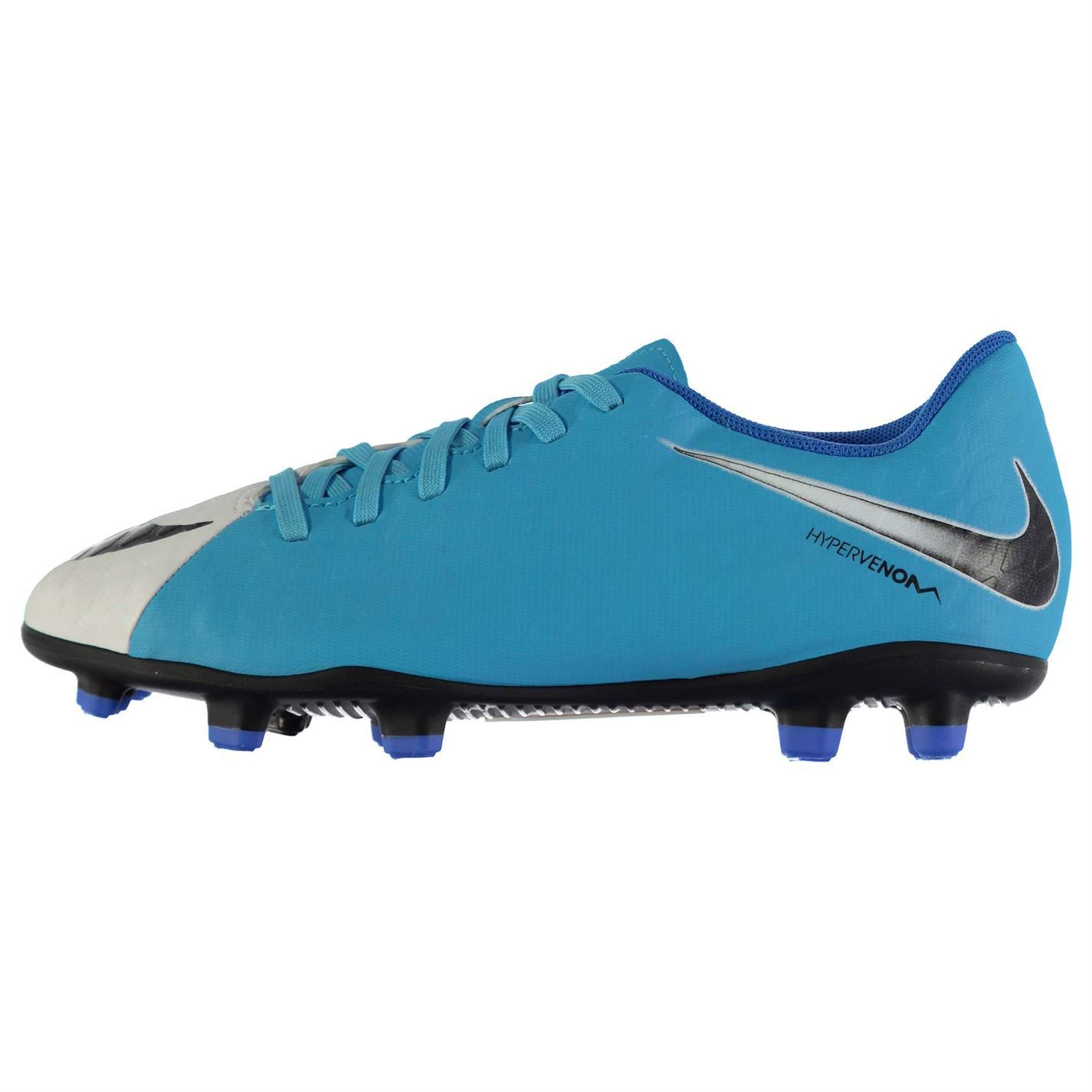 reputable site 8abab da810 ... Nike Hypervenom 3 Phade Firm Ground Football Boots Juniors Wht Blue  Soccer Shoes ...