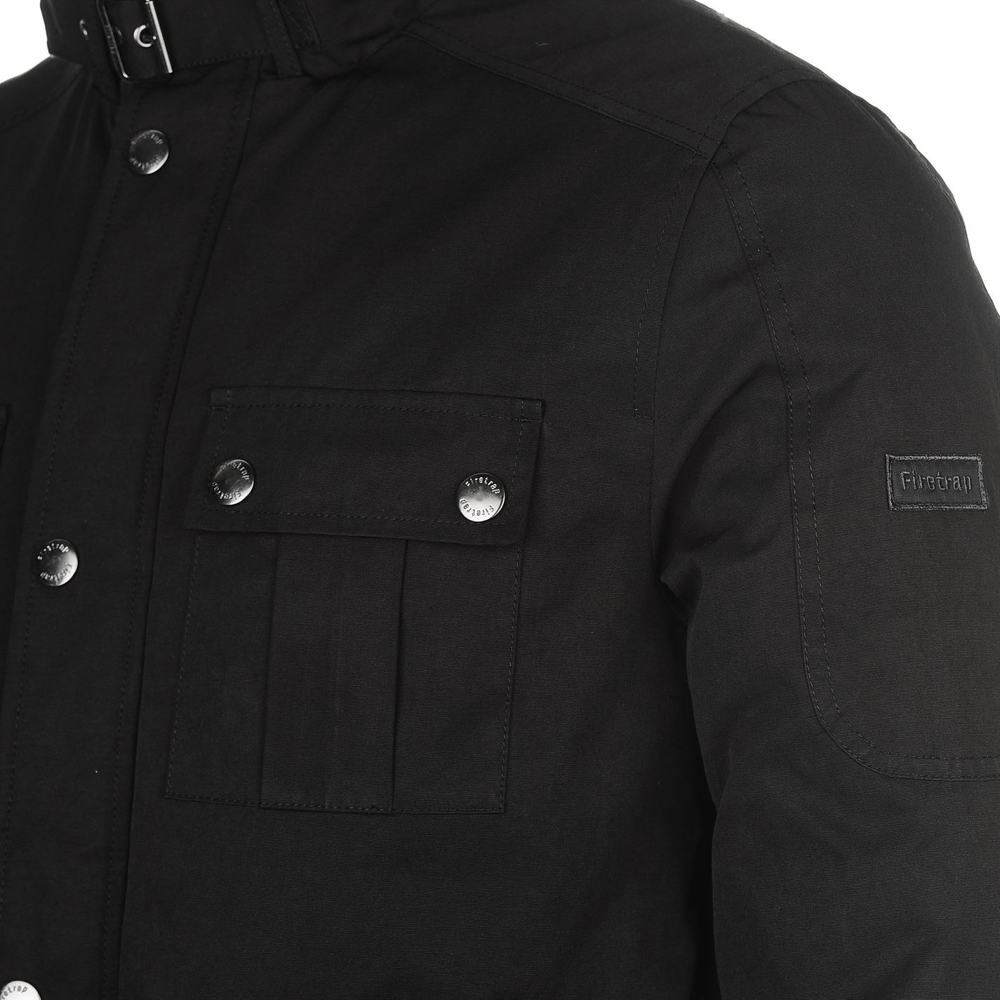 4b62b7506 Firetrap 4 Pocket Jacket Mens Black Coat Outerwear | eBay