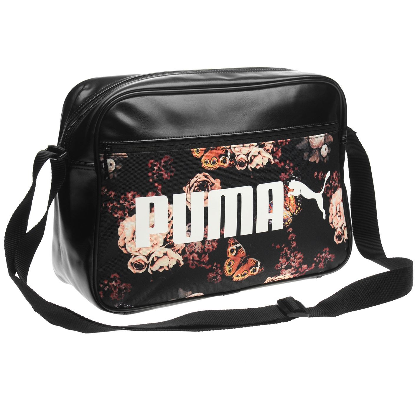 ... Puma Flower Campus Reporter Bag Black Messenger Flight Bag Holdall ... 2e3c18c65c19f