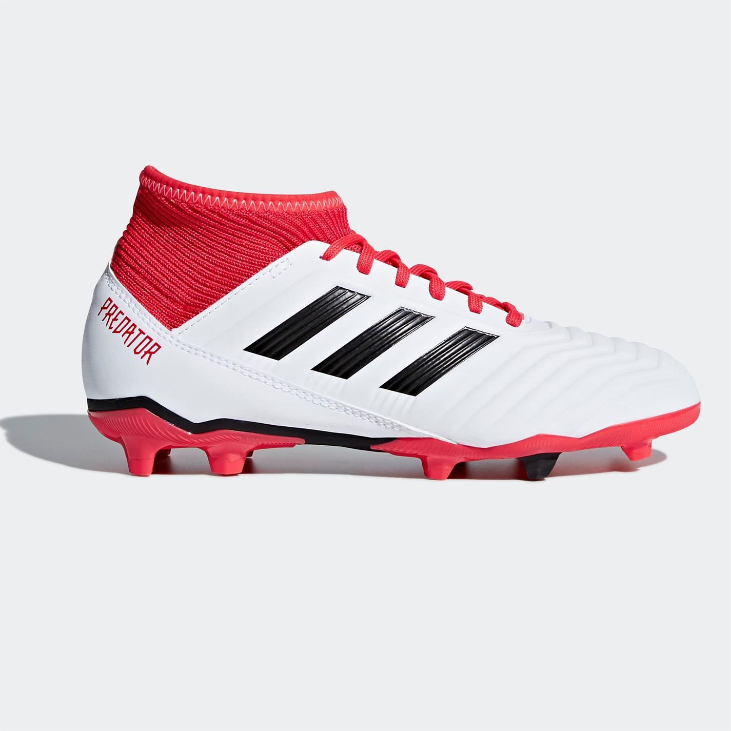 chaussures de sport ff493 fe55f Details about adidas Predator 18.3 Firm Ground Football Boots Childs White  Soccer Shoes Cleats