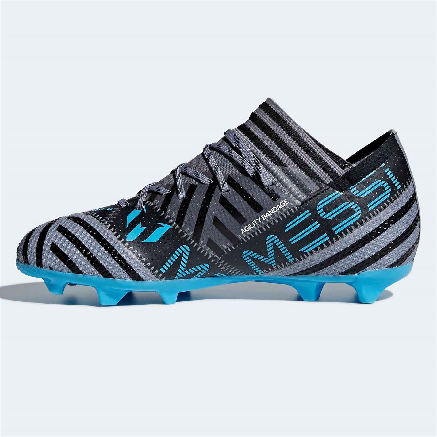 Détails sur Adidas Nemeziz Messi 17.1 Fg Football Bottes Juniors Gris Blk Chaussures Cale