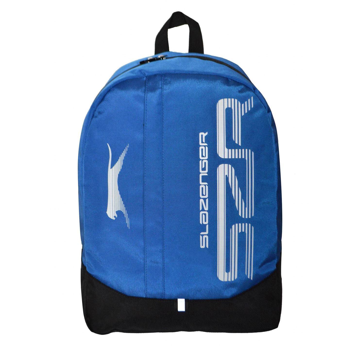 Slazenger Large Logo Backpack Blue Black Rucksack Sports Bag Gymbag Kitbag
