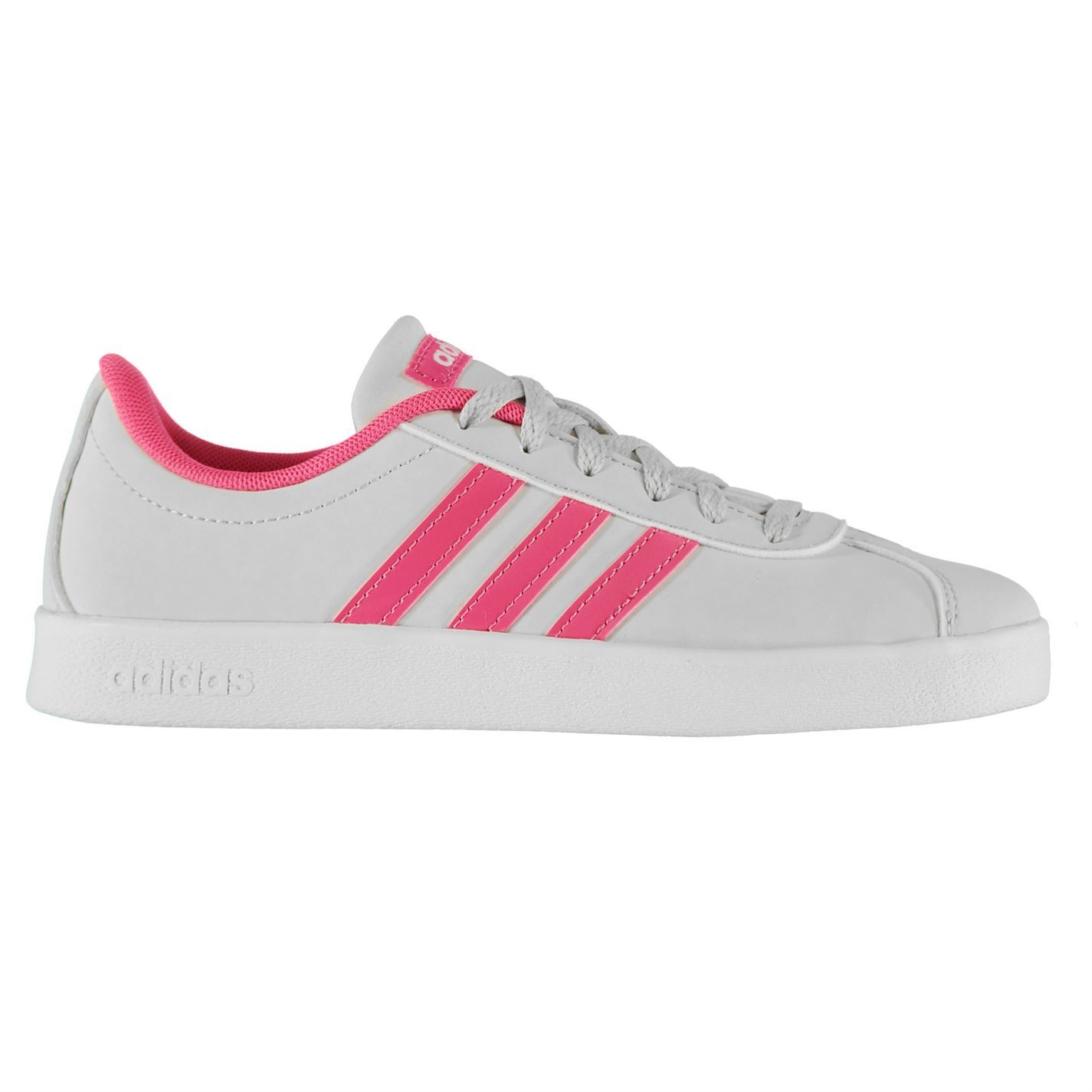 c359923cfa848d ... adidas VL Court 2 K Trainer Girls Grey Pink Shoes Footwear ...
