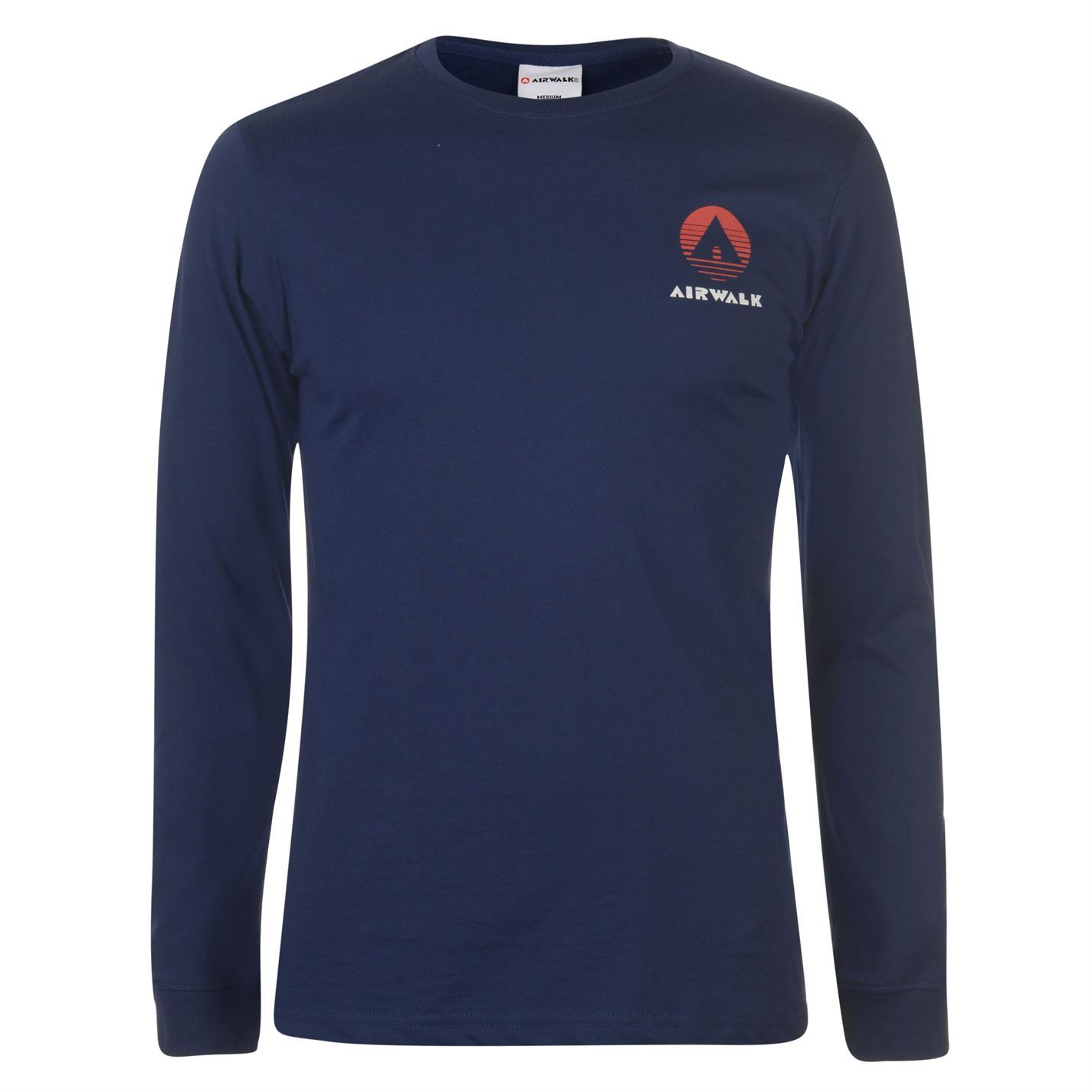 Airwalk Classic Long Sleeve T-Shirt Mens Skateboarding Top Tee Shirt Navy Small