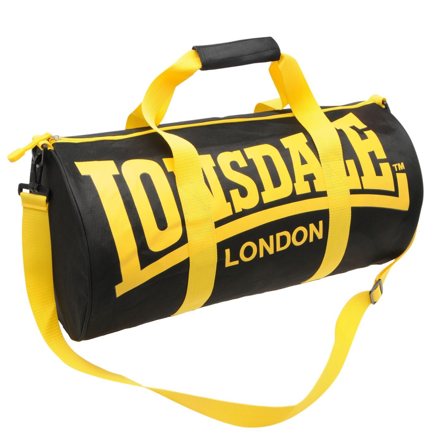 ... Lonsdale Barrel Bag Black Yellow Sports Kit Holdall Carryall Gymbag ... 12cec0628488e