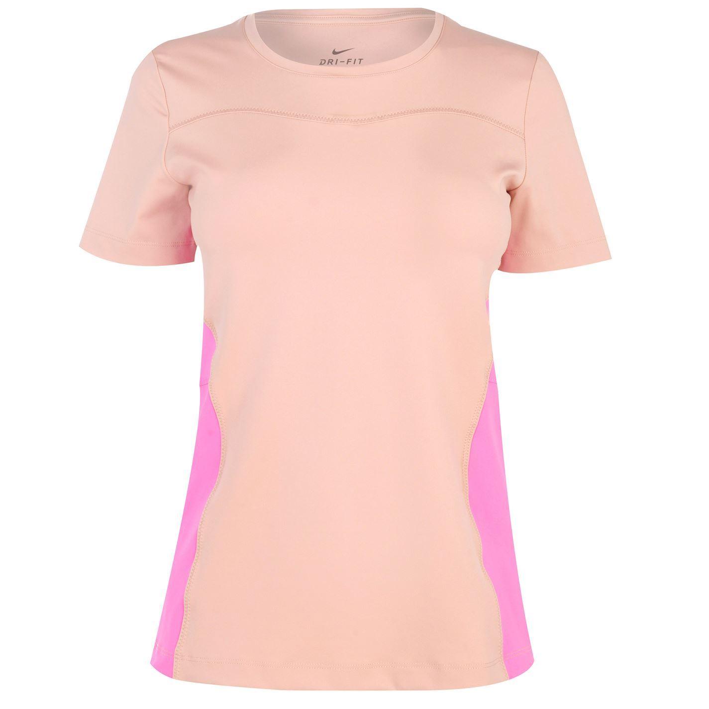 Detalles de Nike Dri Fit Sports Camiseta Oro Rosa Mujer Entrenamiento Físico