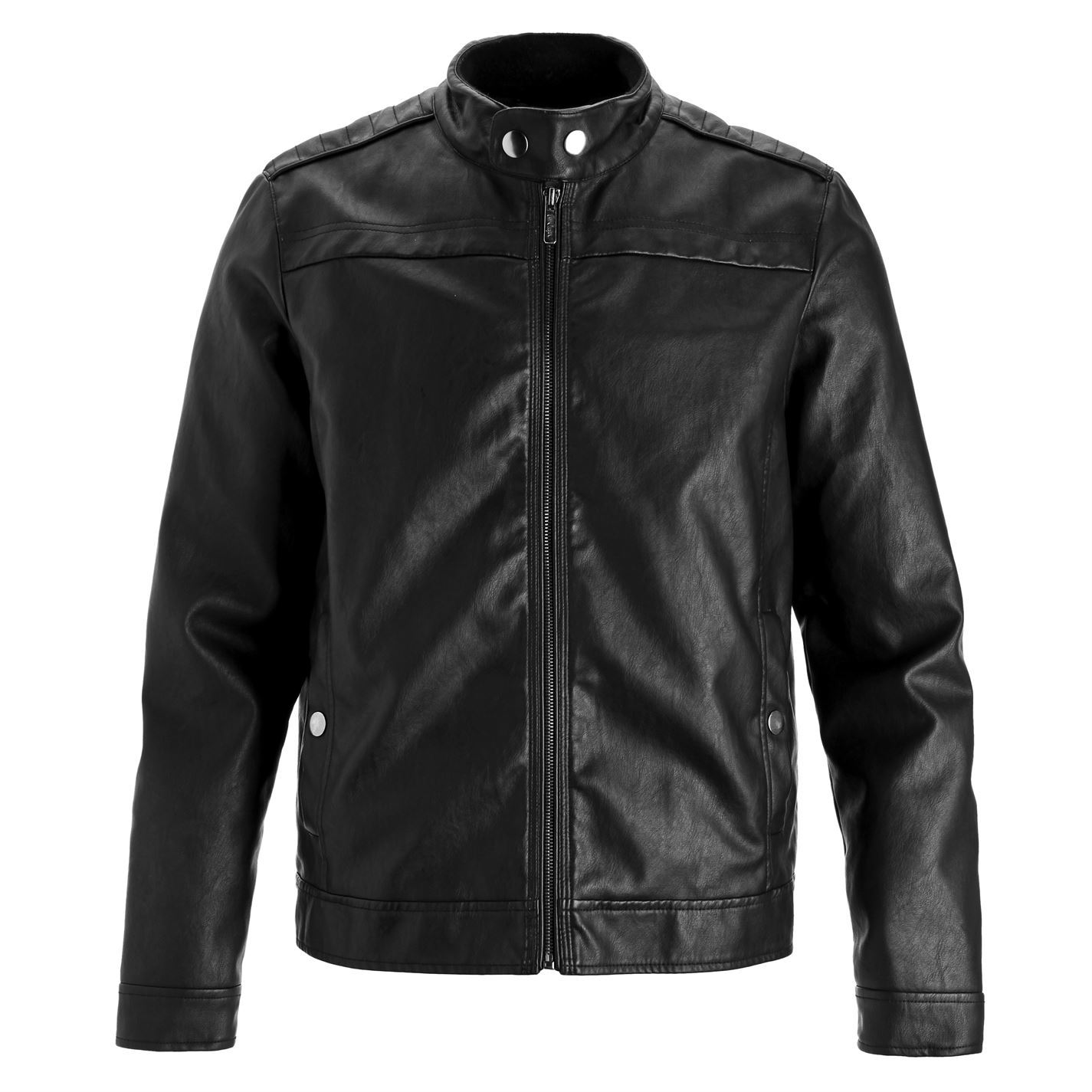 Lee Cooper Classic PU Jacket Mens Black Coat Outerwear | EBay