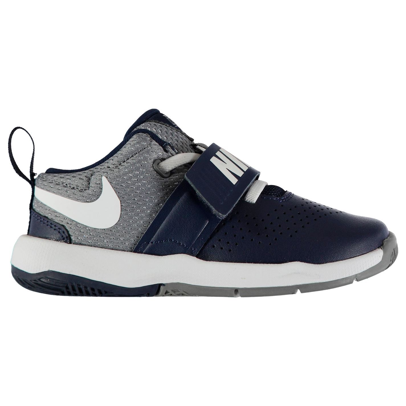 db46a32bde9 ... Nike Team Hustle D8 Basketball Trainers Infant Boys Navy White Shoes  Footwear ...