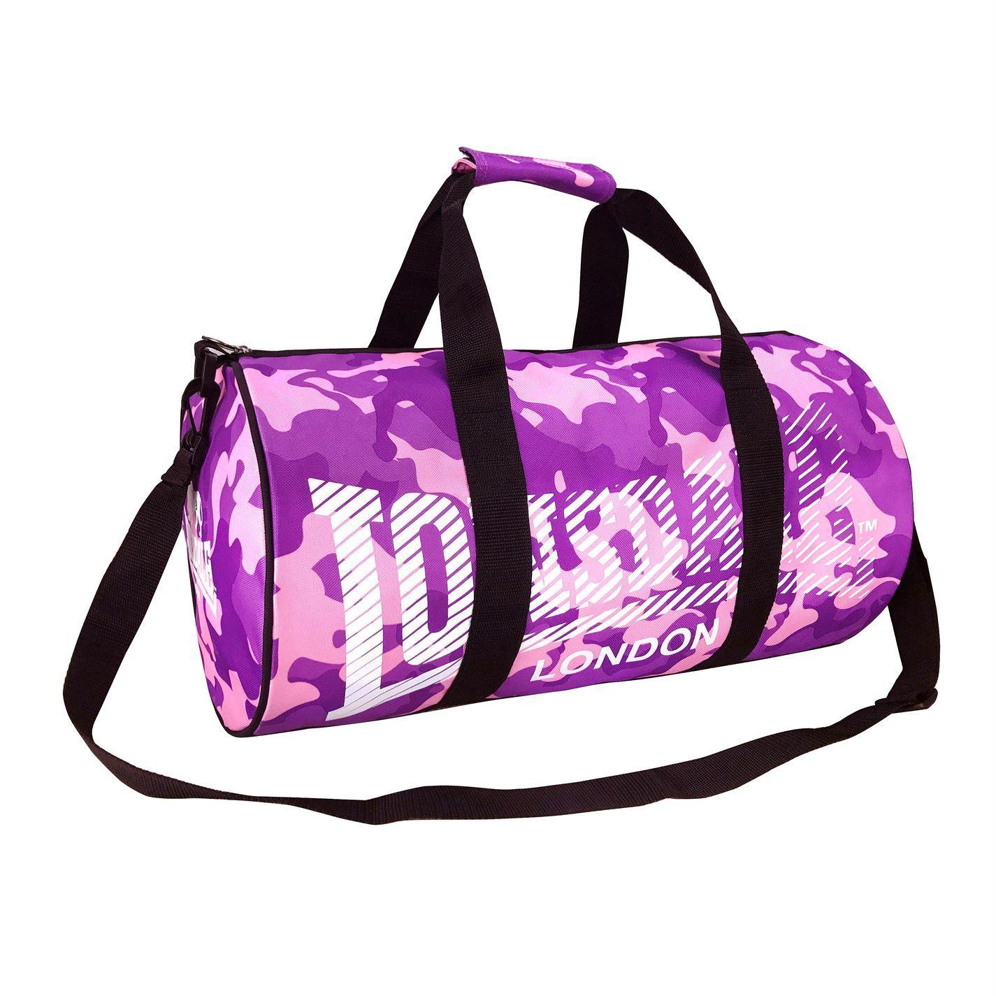 ... Lonsdale Barrel Bag Camouflage Pink Purple Sports Kit Holdall Carryall  Gymbag ... 75860291af5e0