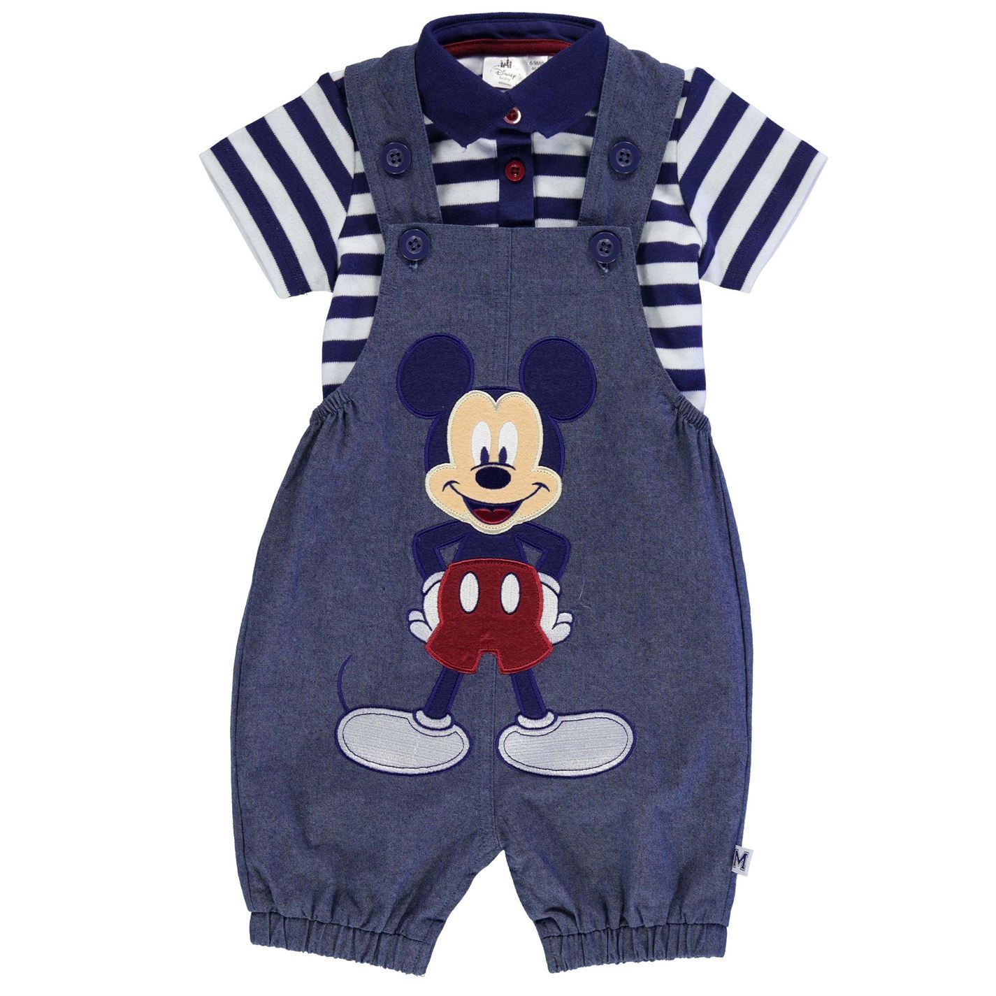 Disney Mickey Mouse Two Piece Dungaree Set Babies Blue White Clothes