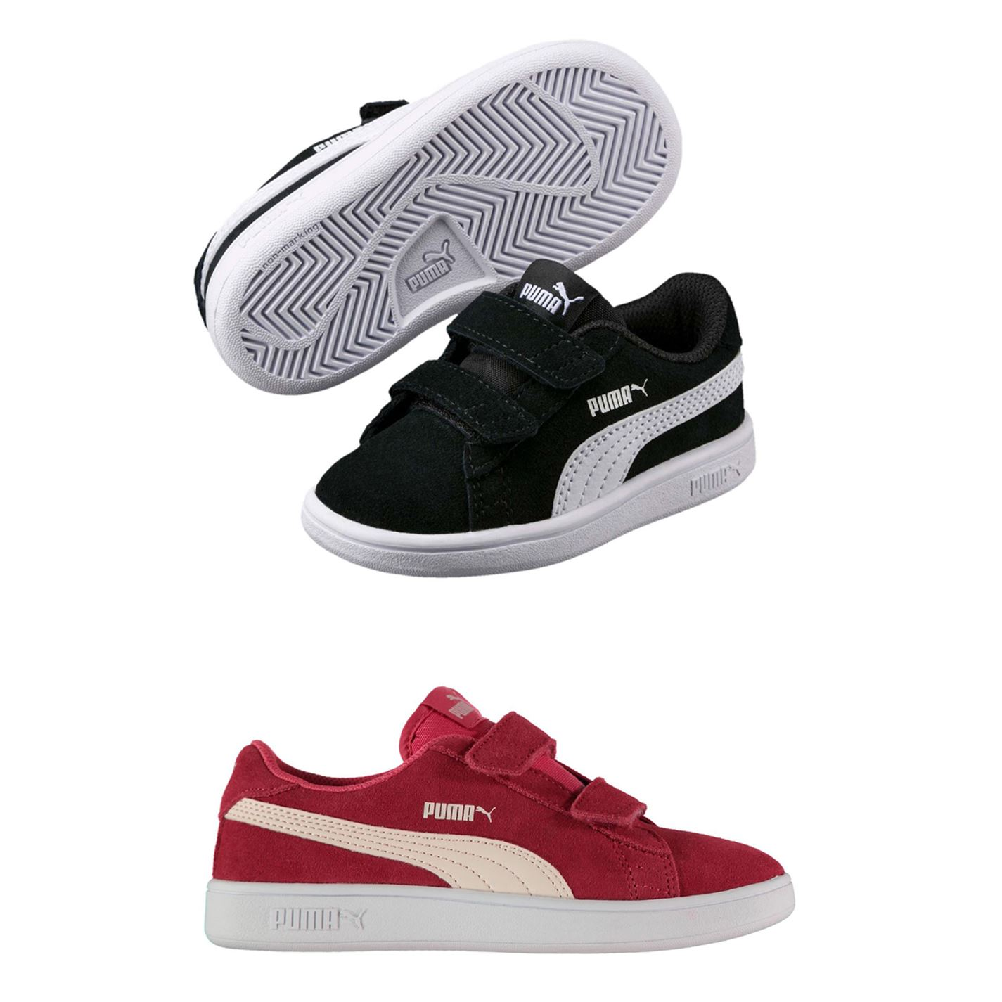 Details about Puma Smash Suede Infant Girls Trainers Shoes Footwear
