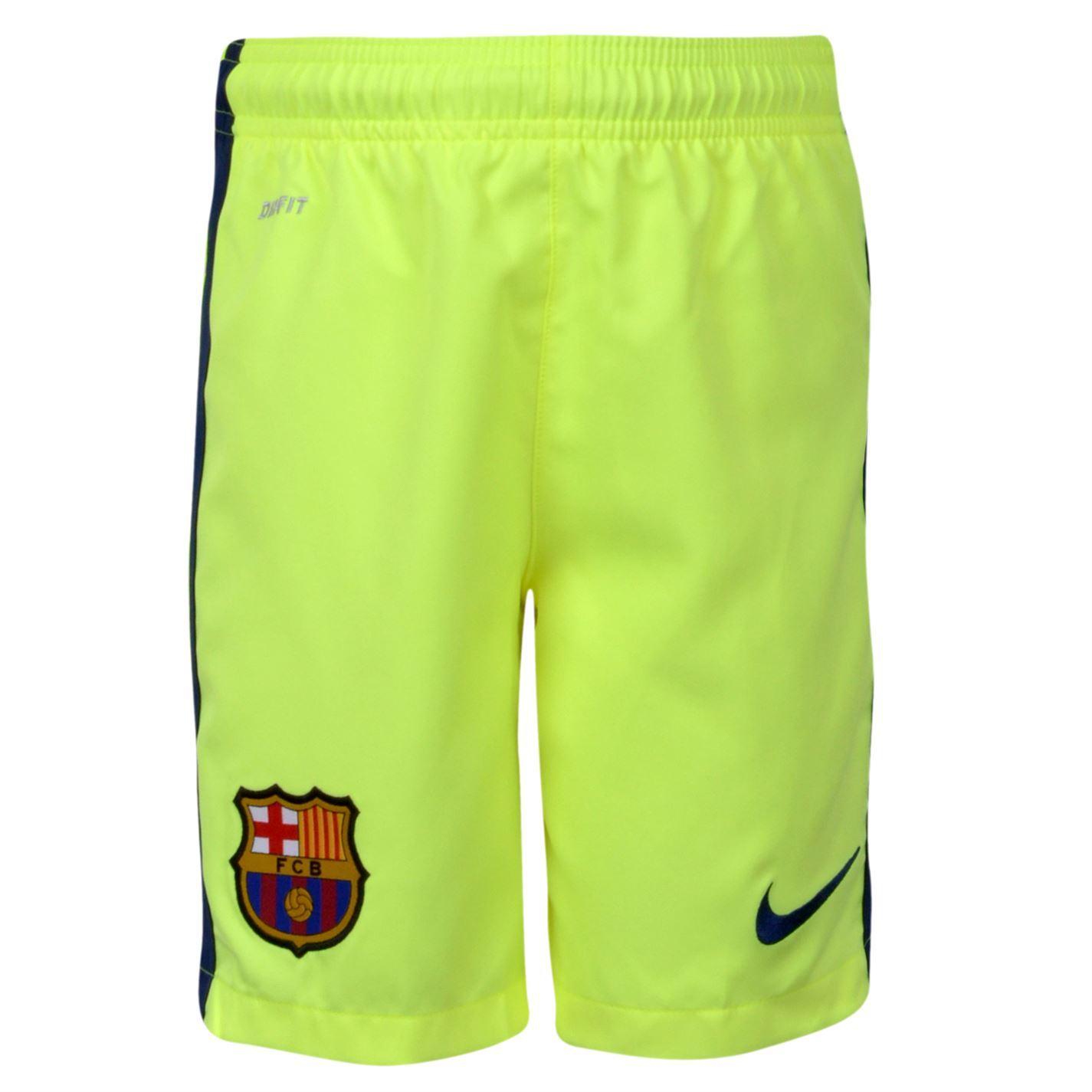 ... Nike Barcelona 3rd Shorts Juniors Mens Yellow Football Soccer Fan  Sportswear ... 36fda67b8d8
