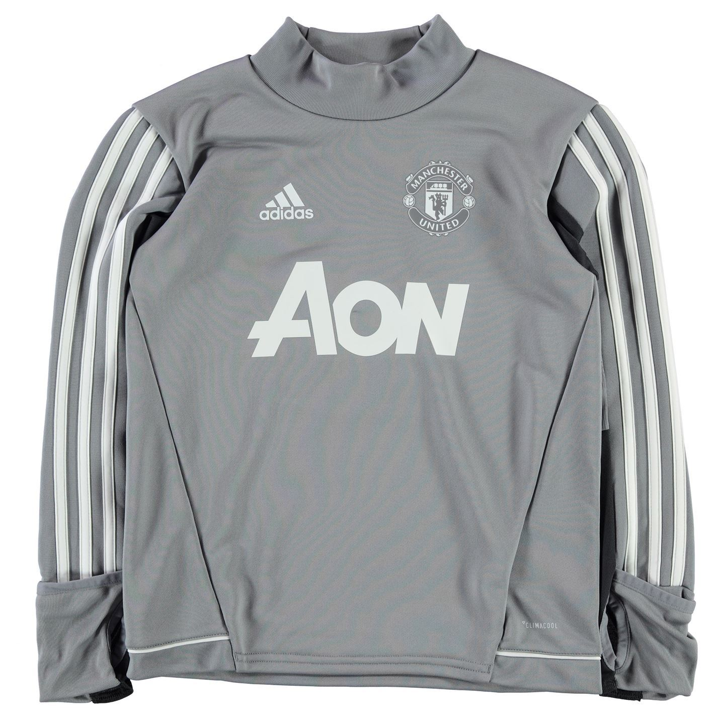 96a068ad3 adidas Manchester United Training Top Juniors Grey White Football Soccer Top