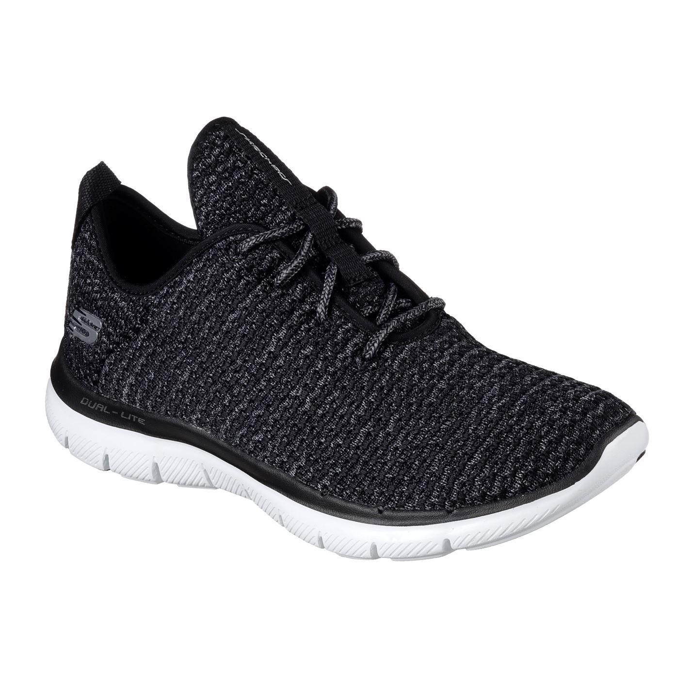 5d3c5ee0b37 ... Skechers Flex llamado 2.0 señoras formadores negro zapatos para mujer  calzado ...