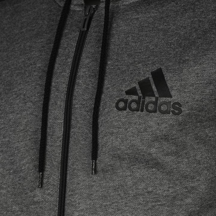 Details about adidas 3 Stripe Full Zip Hoody Mens GreyBlack Hoodie Jacket Top Sportswear