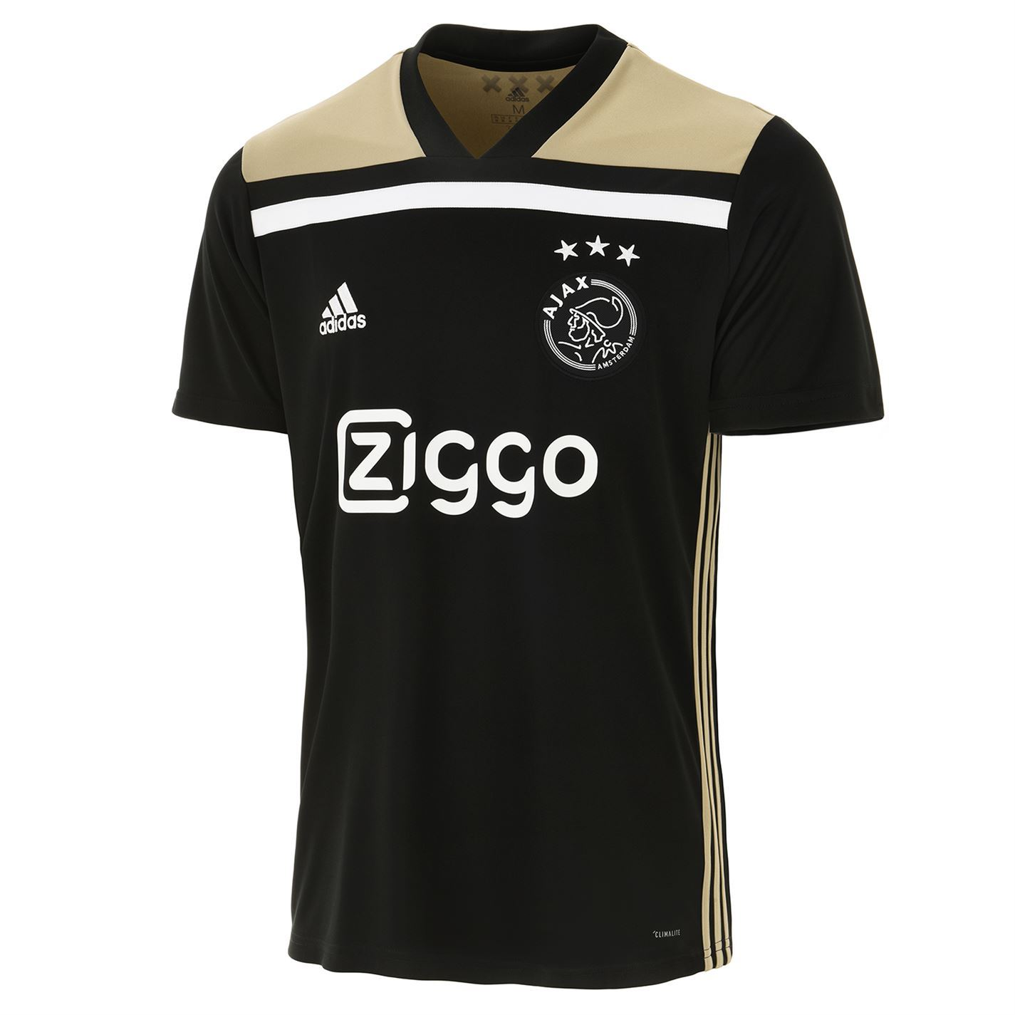 a8ff6f7b7 ... adidas Ajax Away Jersey 2018 2019 Mens Black Gold Football Soccer Fan  Shirt Top ...