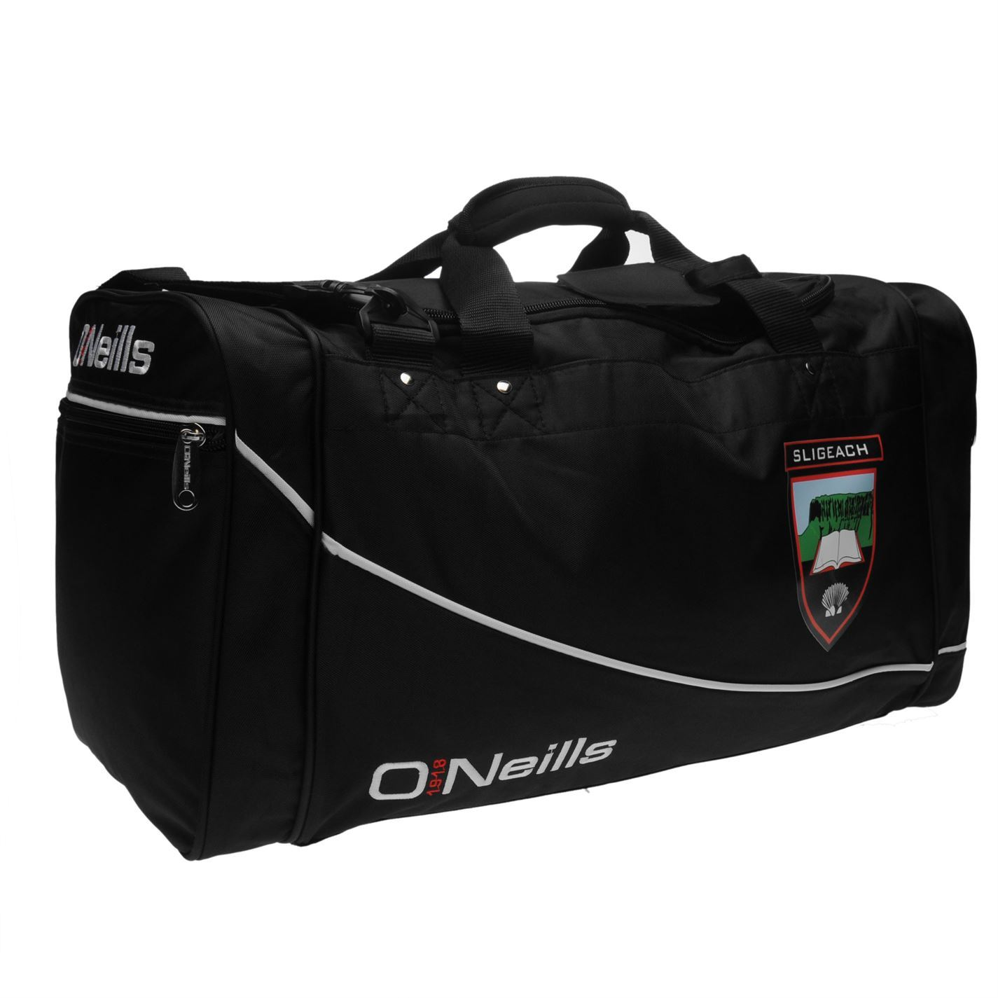 b411661eb481f5 ... O'Neills Sligo GAA Burren Holdall Black/White Sports Kit Bag Gymbag  Carryall ...