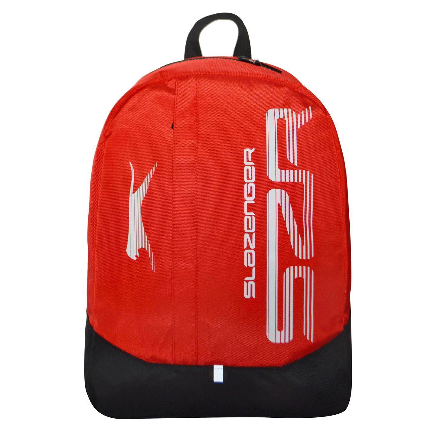 Slazenger Large Logo Backpack Red Black Rucksack Sports Bag Gymbag Kitbag
