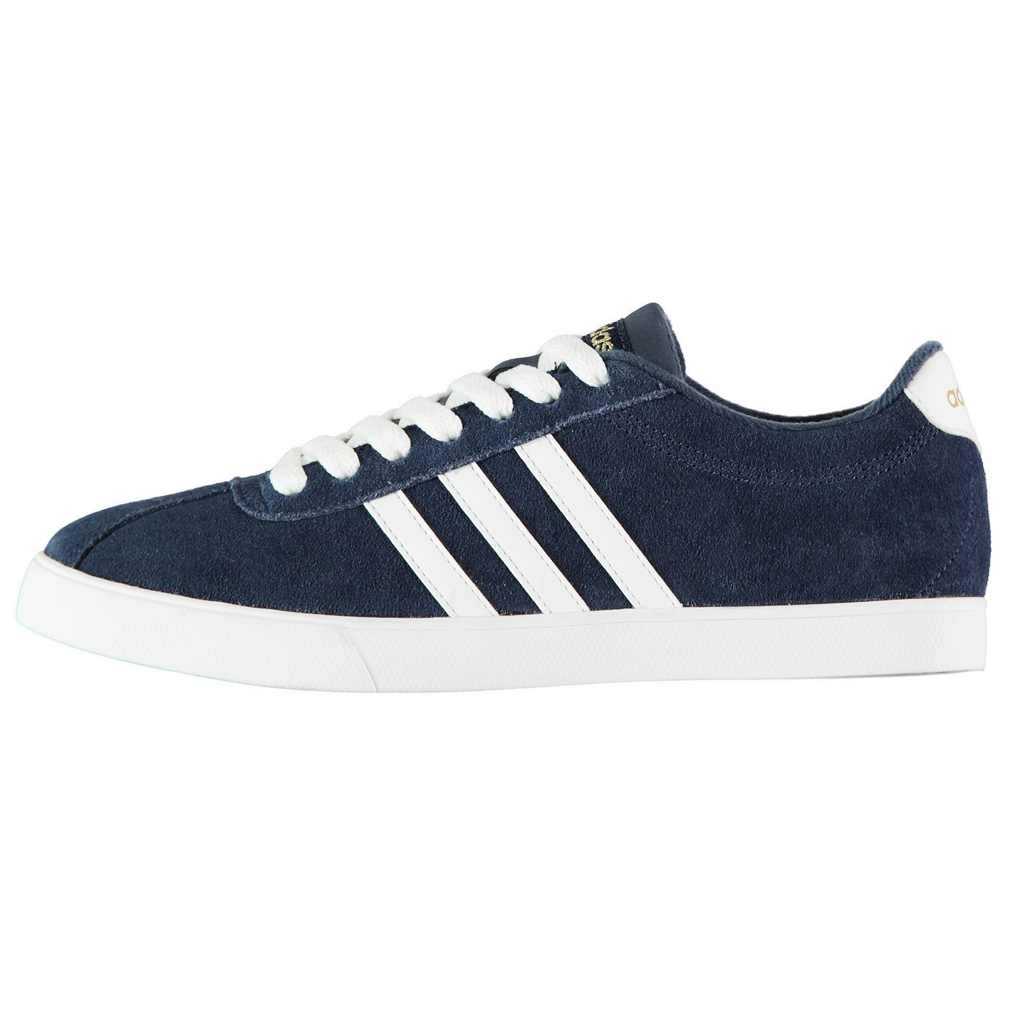 55770a7de79e adidas Court Set Suede Trainers Womens Navy White Sports Trainers Sneakers