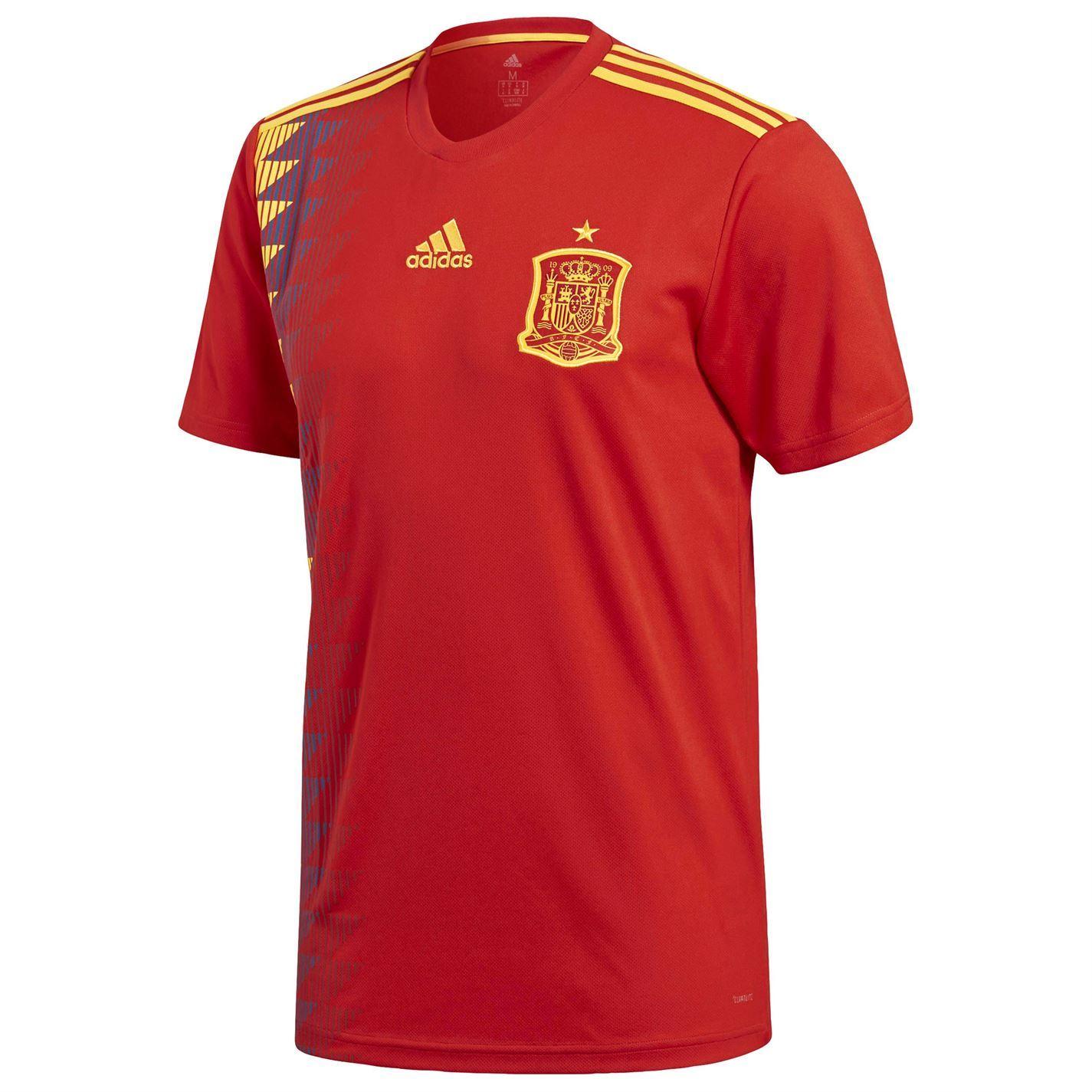 Detalles de Adidas España Home Jersey 2018 Hombre RojoOro Fútbol Camiseta Tira