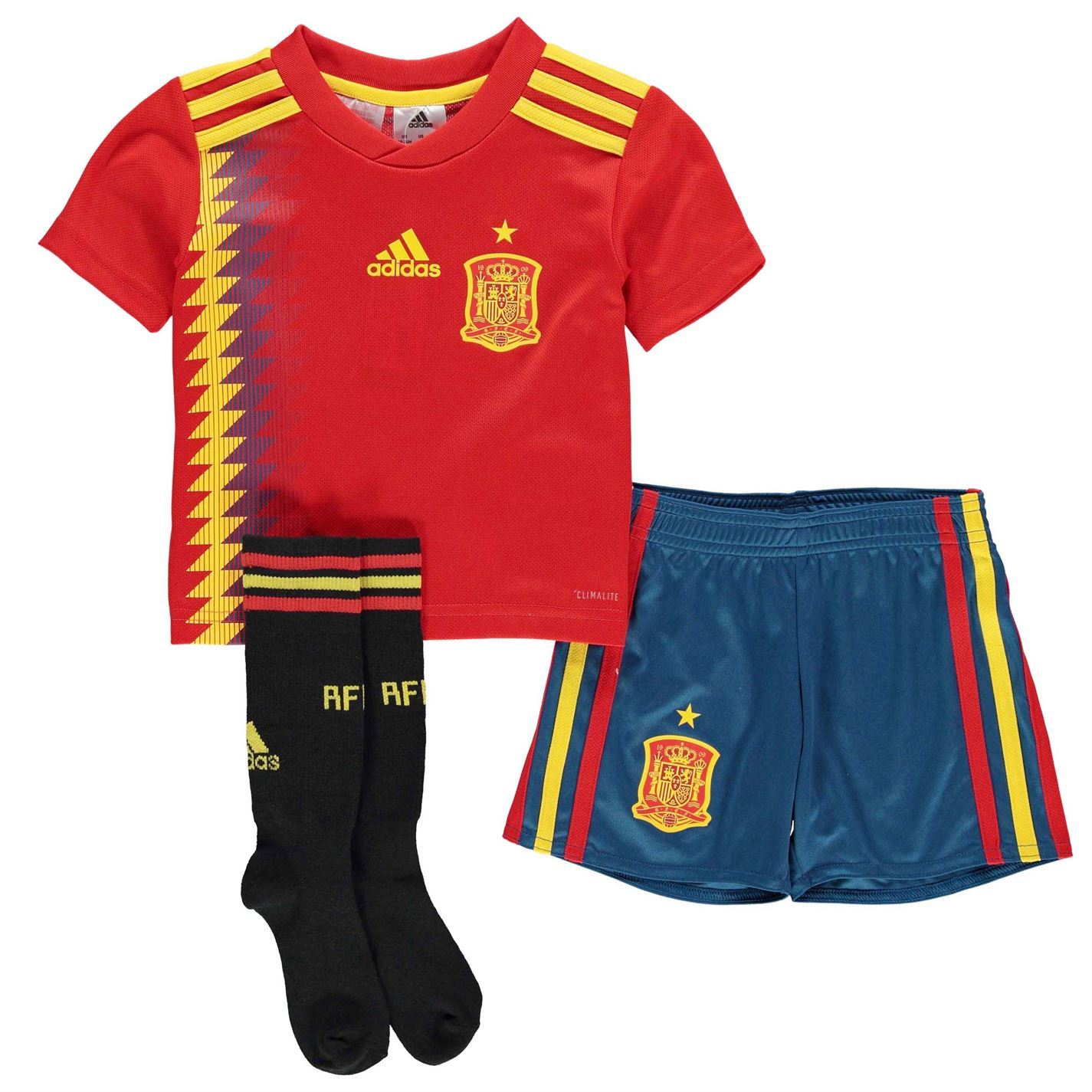 sale retailer 6b00d f04e8 ... adidas Spain Home Mini Kit 2018 Infants RedGold Football Soccer Top  Shirt Strip ...