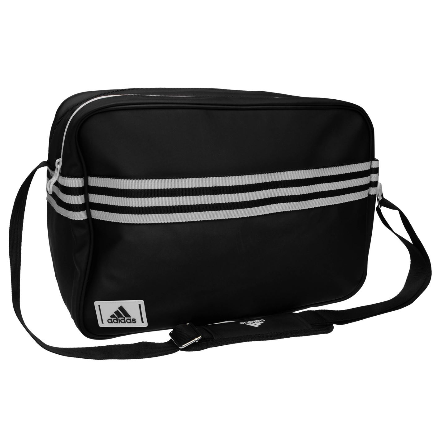 9561ec96ee ... Adidas Enamel Messenger Bag Medium Black White Sports Flight Bag Gymbag  Kitbag ...