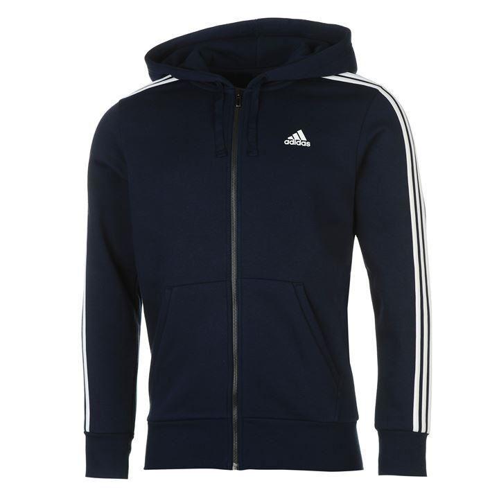 Details about adidas Essentials 3 Stripe Logo Full Zip Hoody Mens Navy Hoodie Sportswear Top