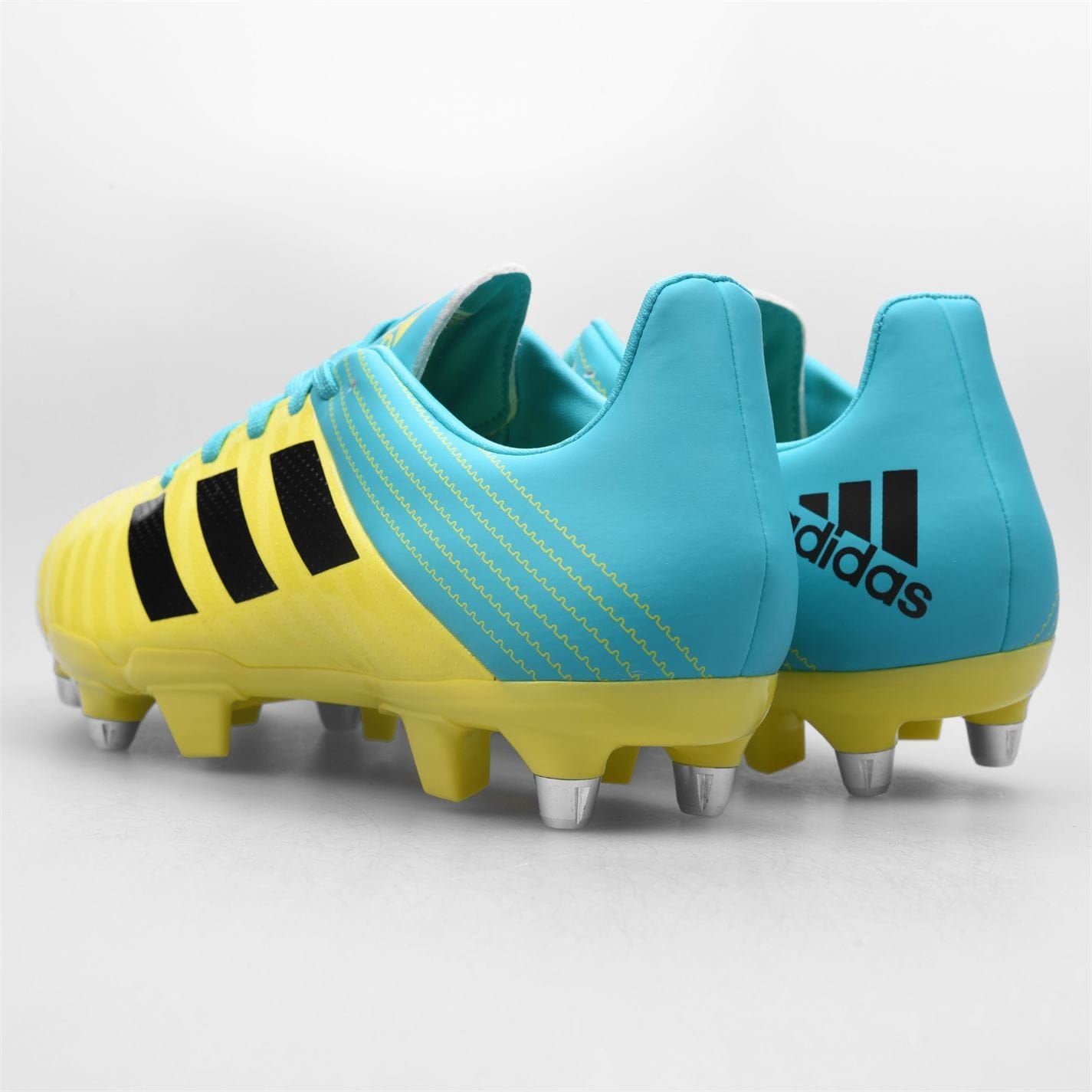 adidas Malice Soft Ground Rugby Boots Mens Yellow/Aqua Football Cleats Footwear