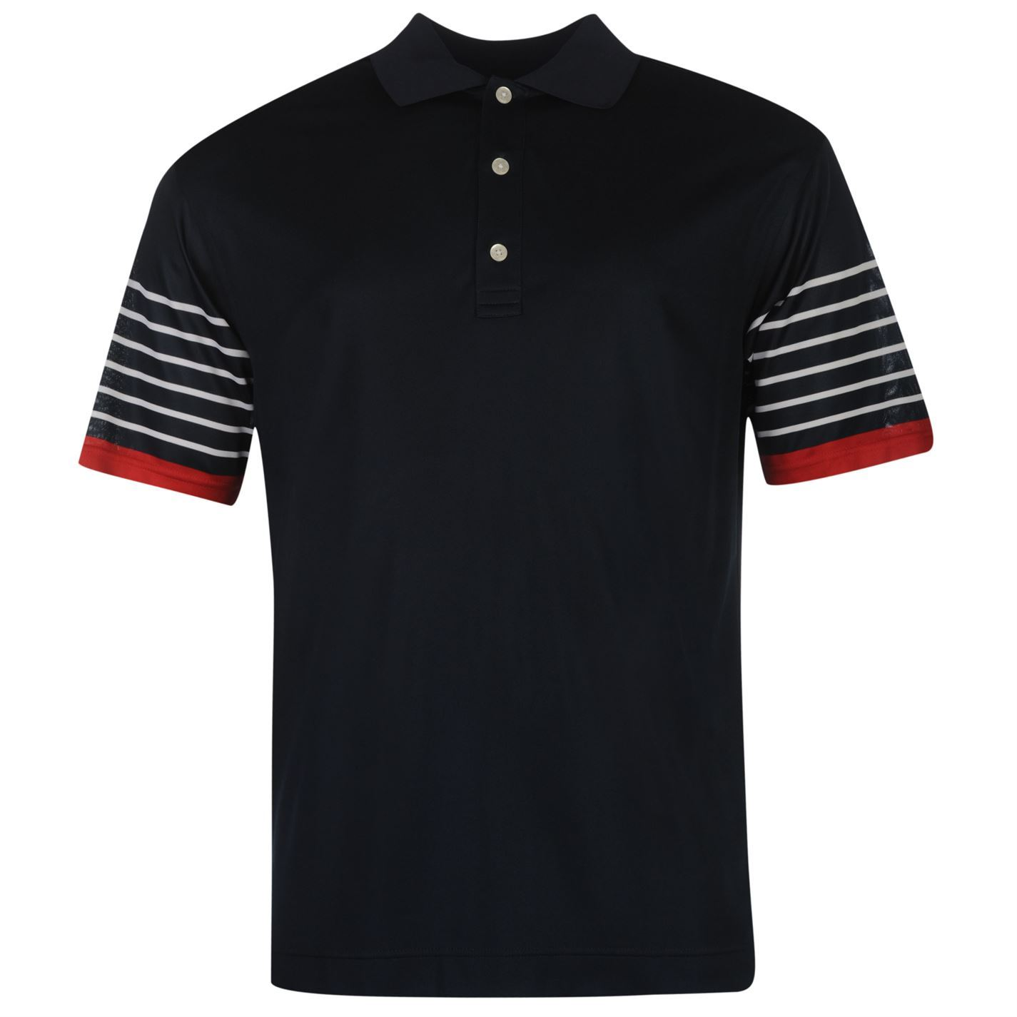Footjoy stripe sleeve golf polo shirt mens navy white for Button down collar golf shirt