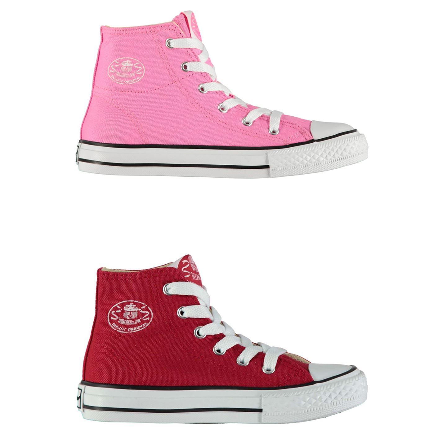 f12e702298620 ... Dunlop Kids Canvas High Top Trainers Girls Shoes Footwear ...