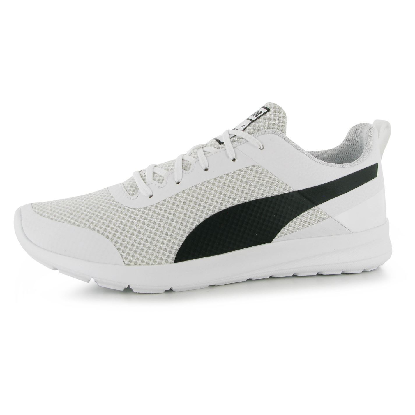 UK Shoes - Puma Trax Runner Trainers Mens White/Black Sports Shoes Sneakers Footwear