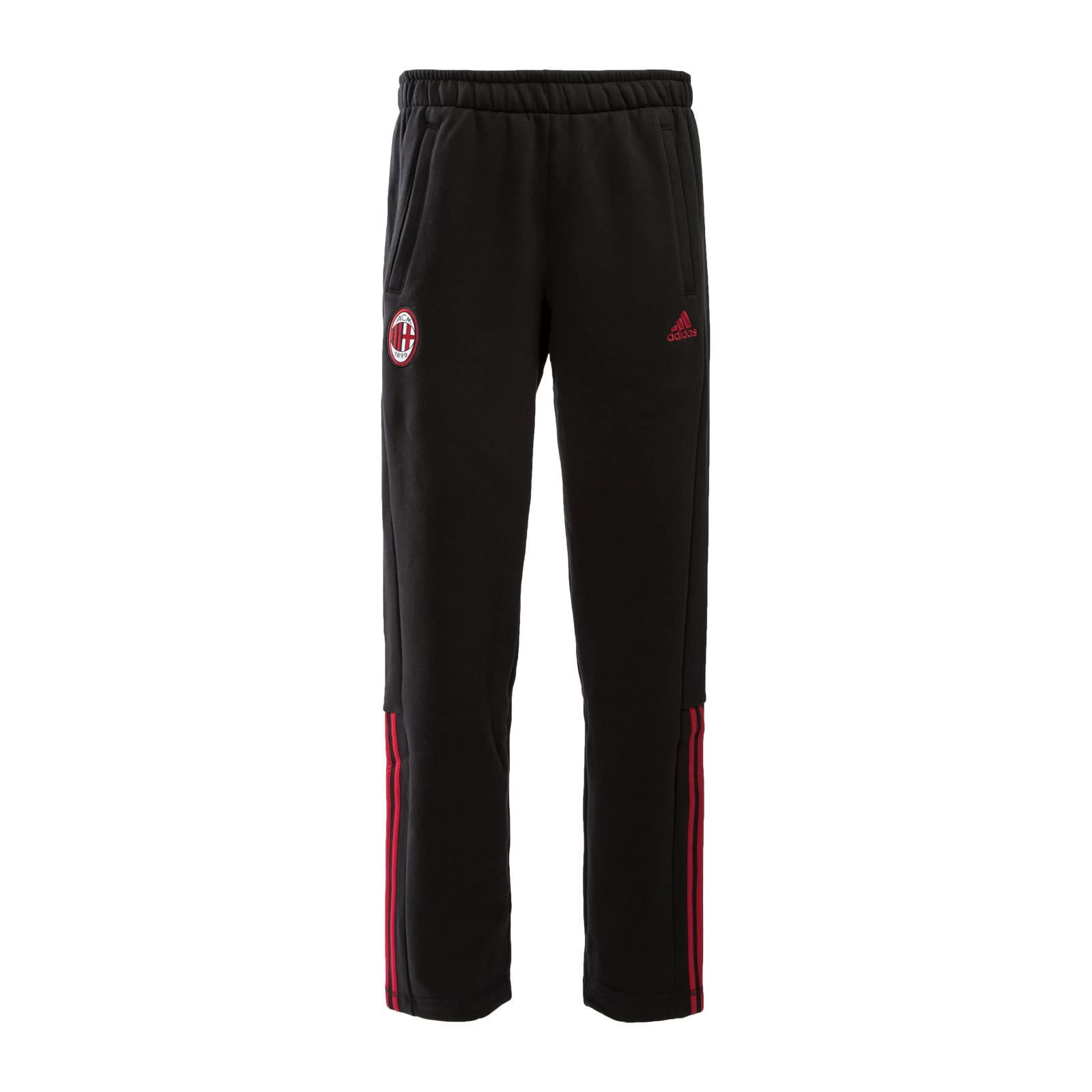 c7bb8a6c21 Details about adidas AC Milan 3 Stripe Sweat Pants Mens Black/Rd Football  Soccer Track Bottoms