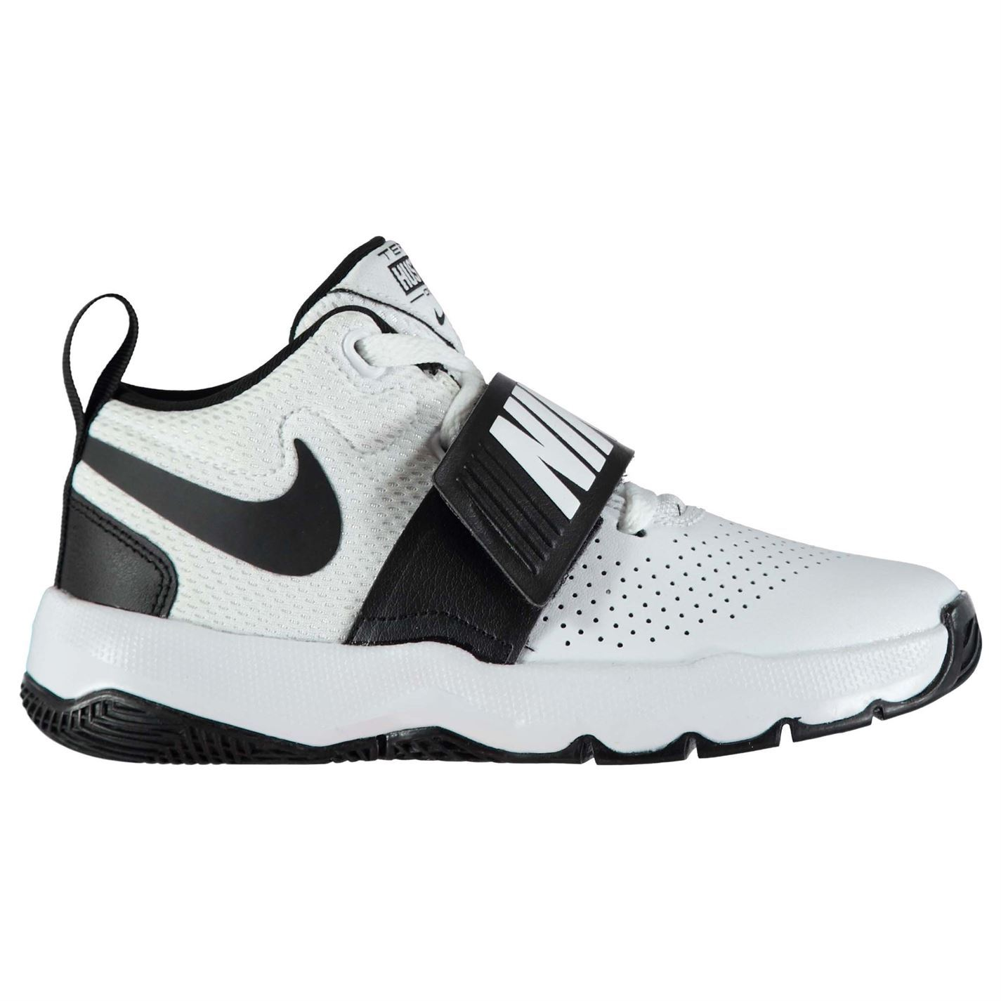 e93165ee64d ... Nike Team Hustle D8 Basketball Shoes Juniors White Black Trainers  Sneakers ...
