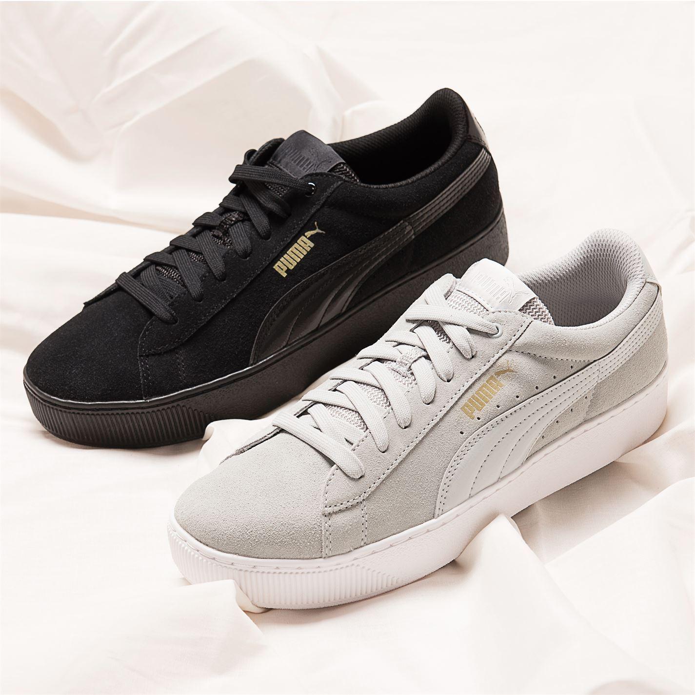c1909905c140ce ... Puma Vikky Platform Trainers Womens Grey Violet Casual Sneakers Shoes  Footwear