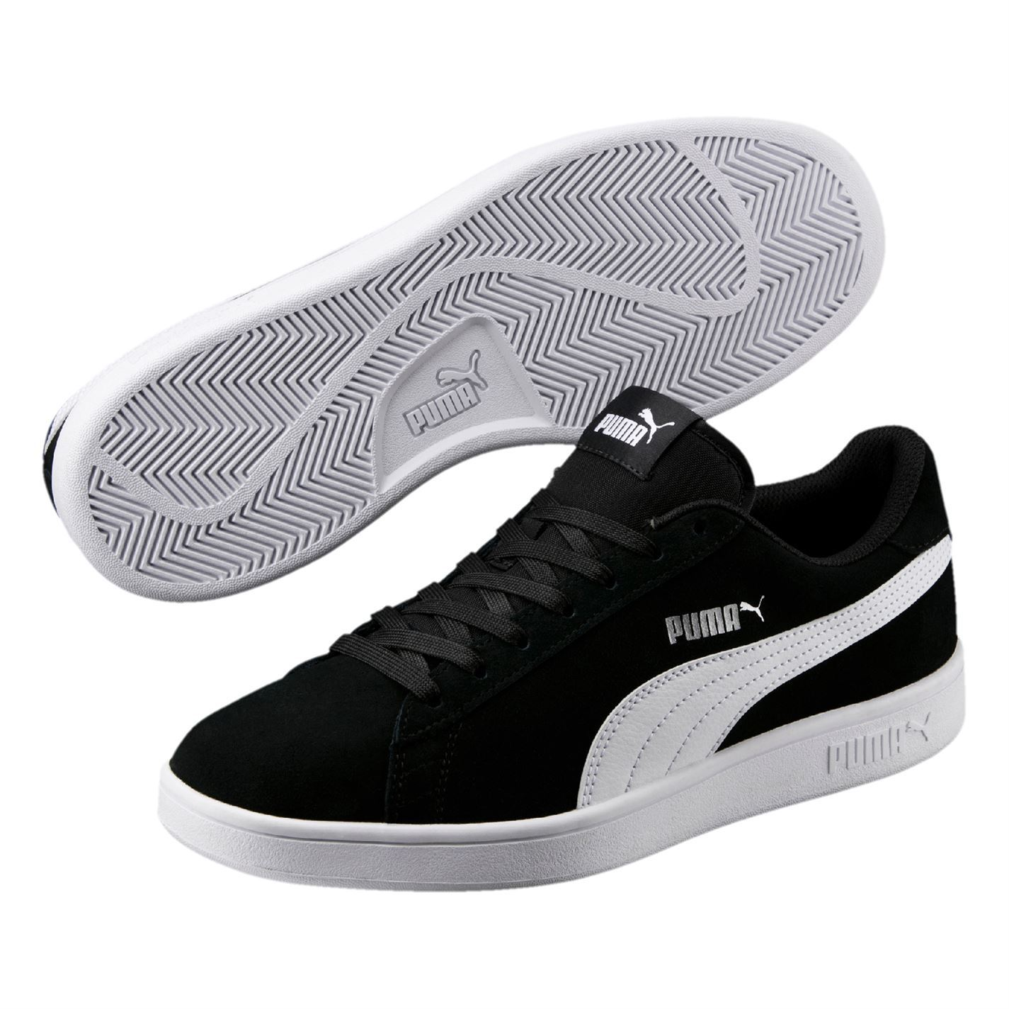 rivenditore all'ingrosso 476ef ac05c Puma Smash V2 Suede Mens Trainers Shoes Black/White Casual ...