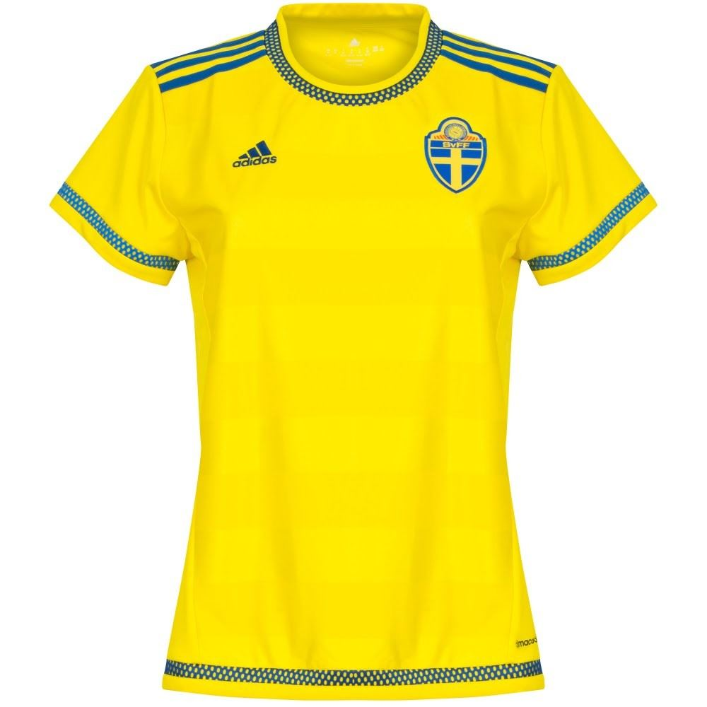 eb3ae561dca ... adidas Sweden Home Jersey 2015 2016 Womens Yellow Football Soccer Shirt  Ladies ...