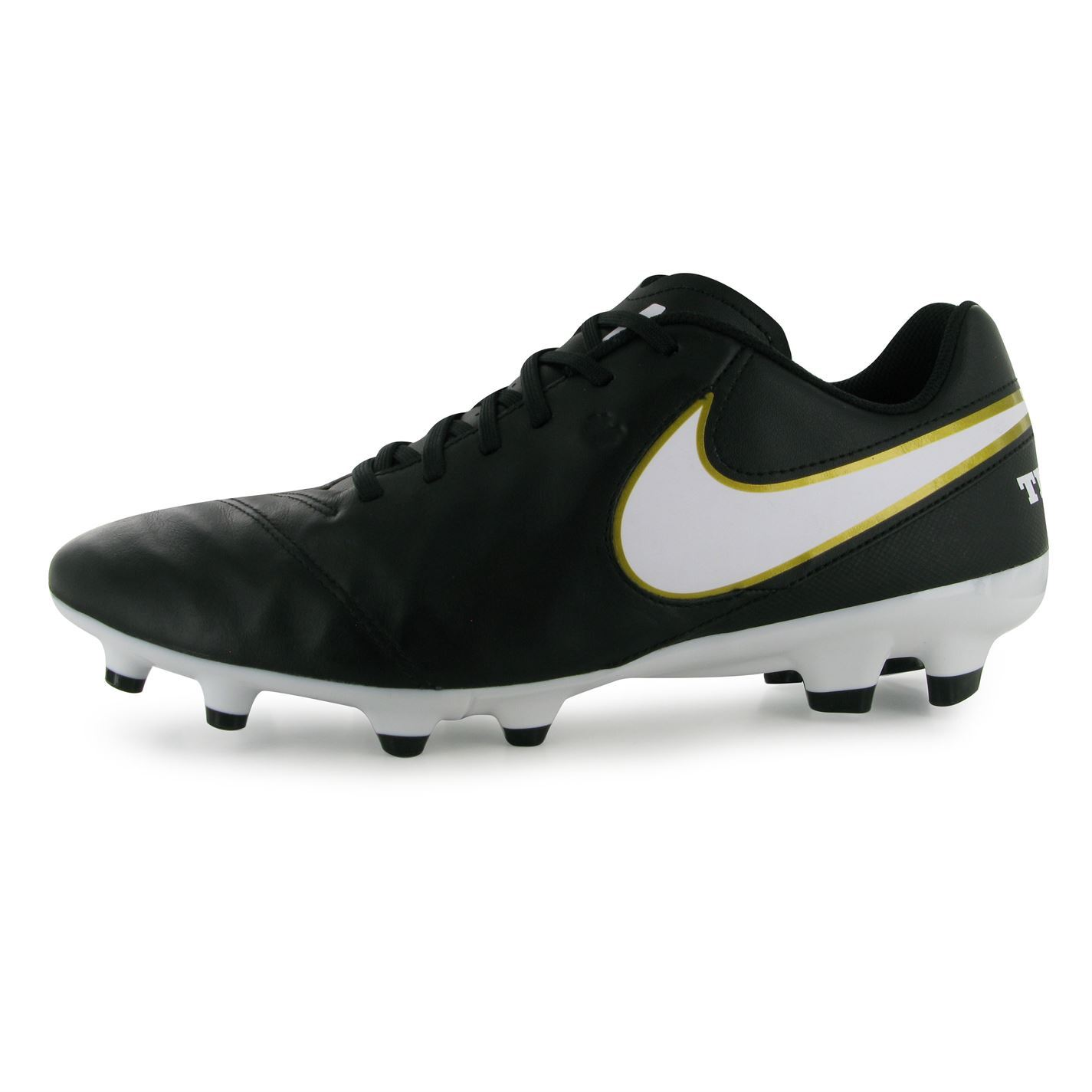 watch 4414e ce111 Details about Nike Tiempo Genio FG Firm Ground Football Boots Mens Blk/Wht  Soccer Cleats Shoes