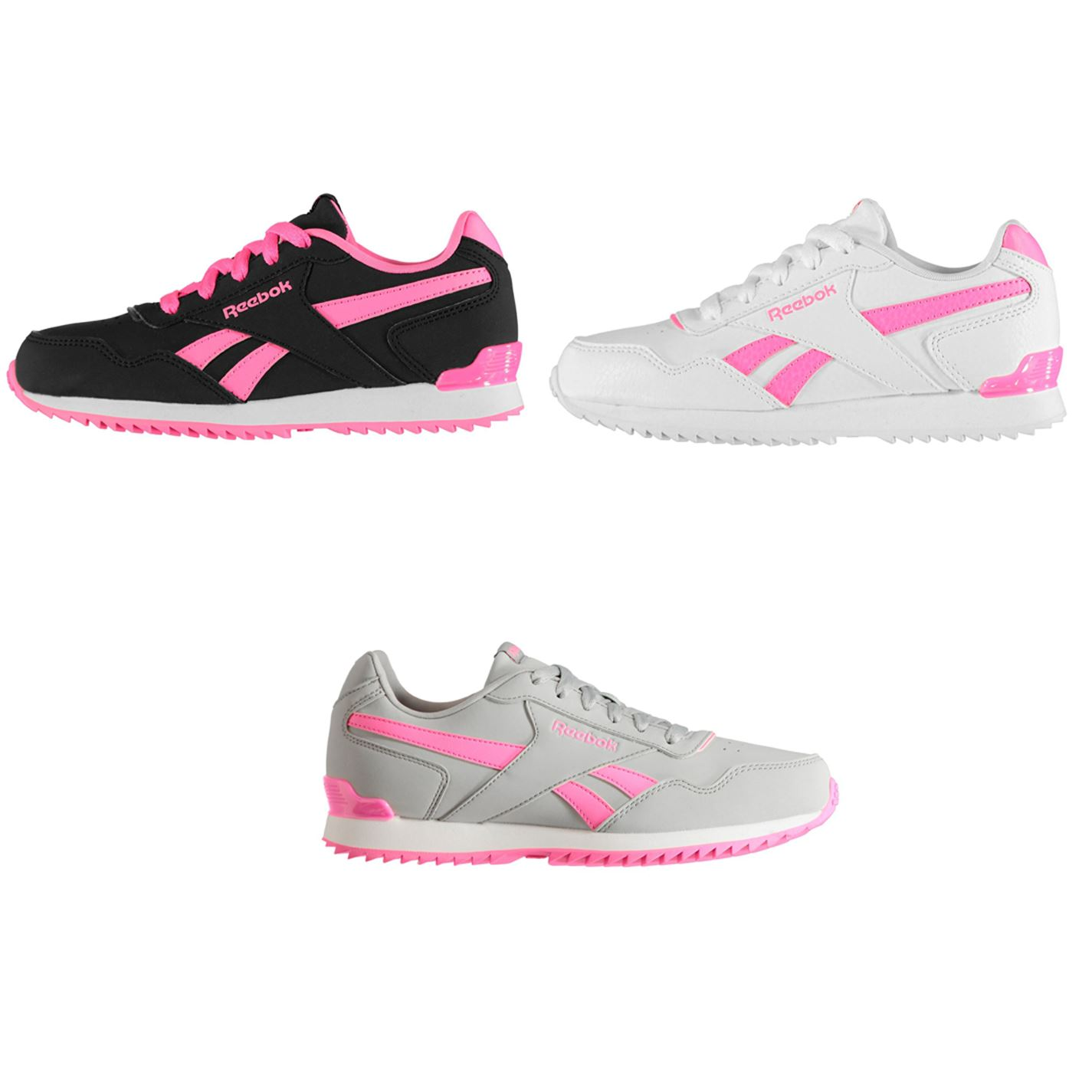 Details about Reebok Glide Rip Clip Junior Girls Trainers Shoes Footwear