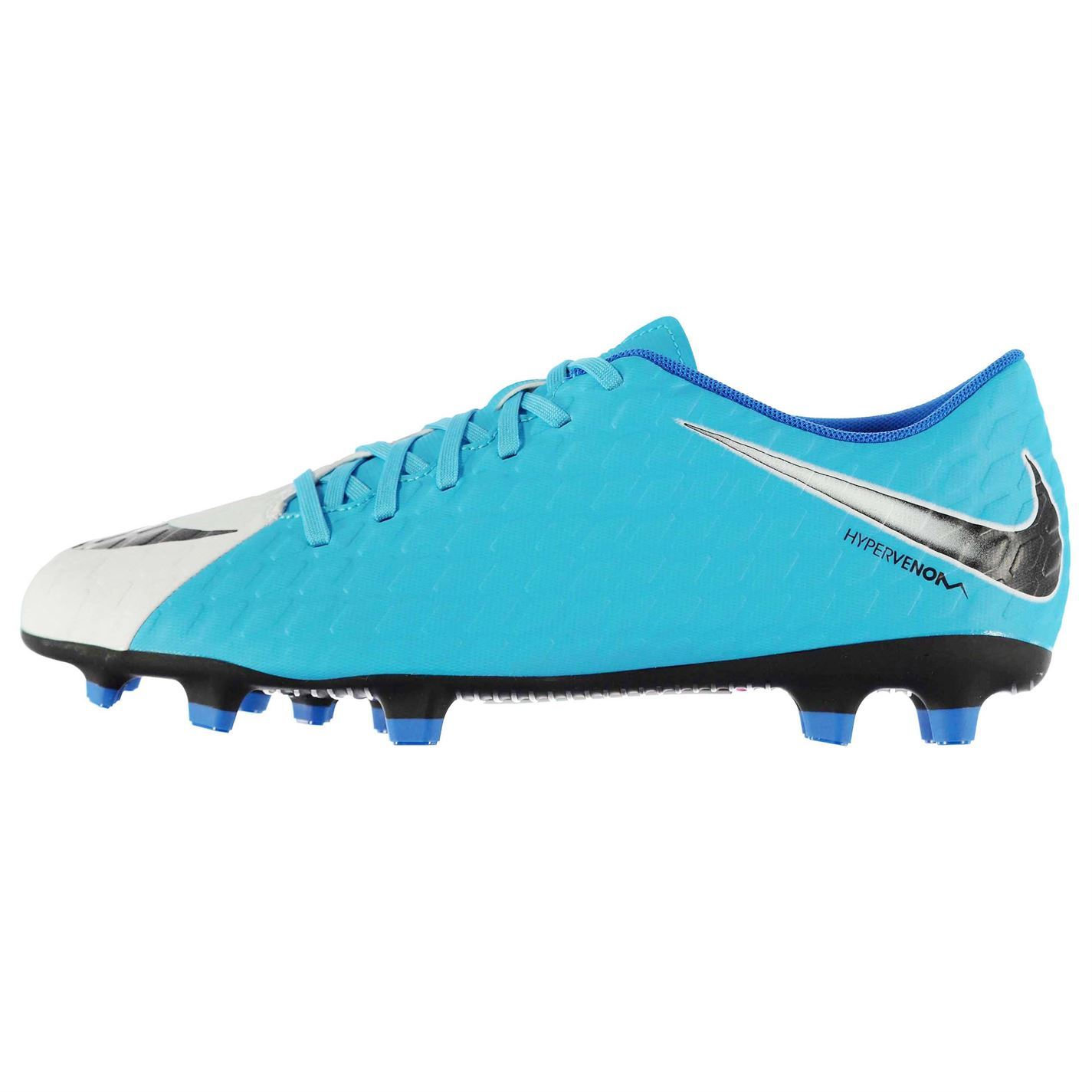 finest selection fa036 c8de6 Details about Nike Hypervenom III 3 Phade FG Firm Ground Football Boots  Mens Wht/Blu Soccer