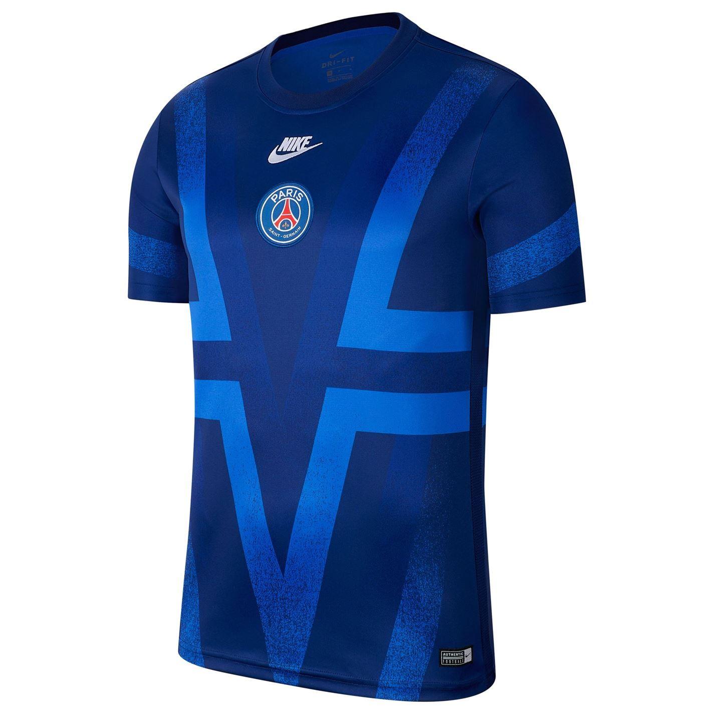 Nike Paris Saint Germain Pre Match European T Shirt 2019 2020 Mens Blue Top Tee Ebay