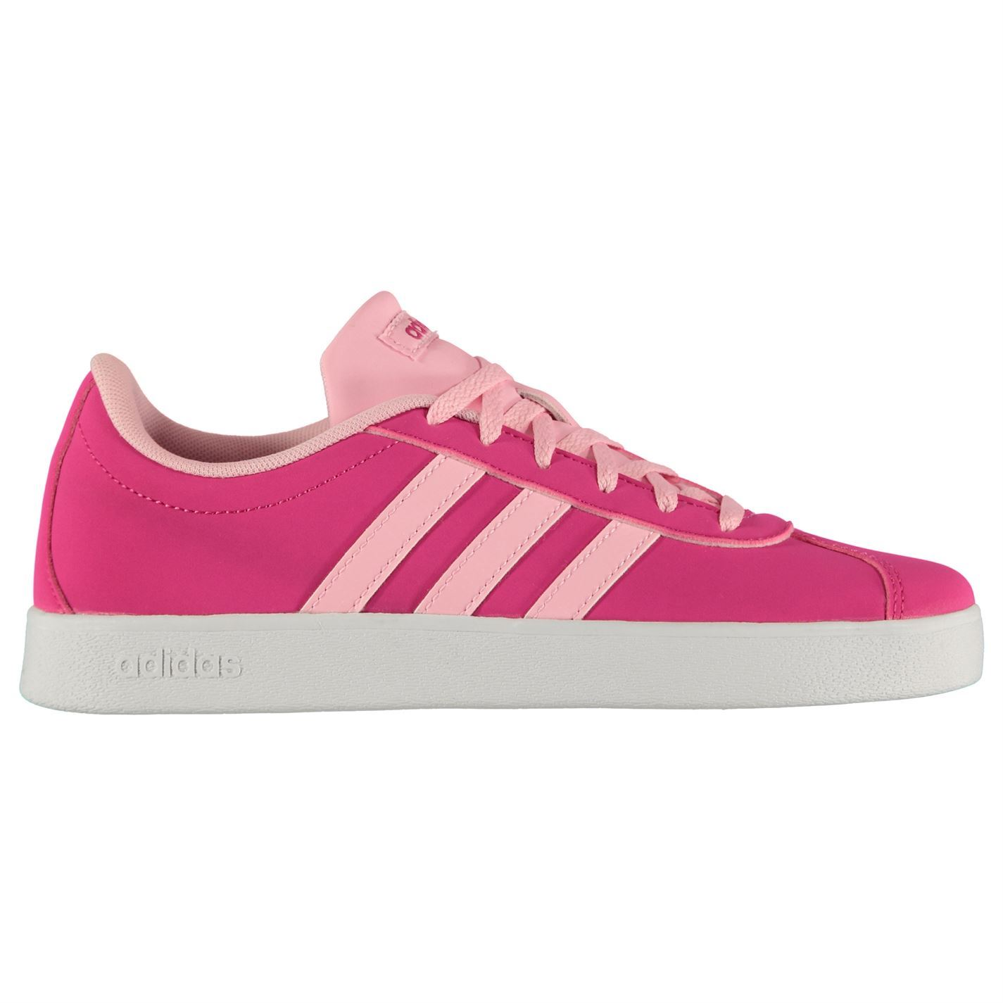 new style 02f61 be4e6 ... adidas VL Court 2.0 K Trainers Junior Girls Pink White Shoes Footwear  ...