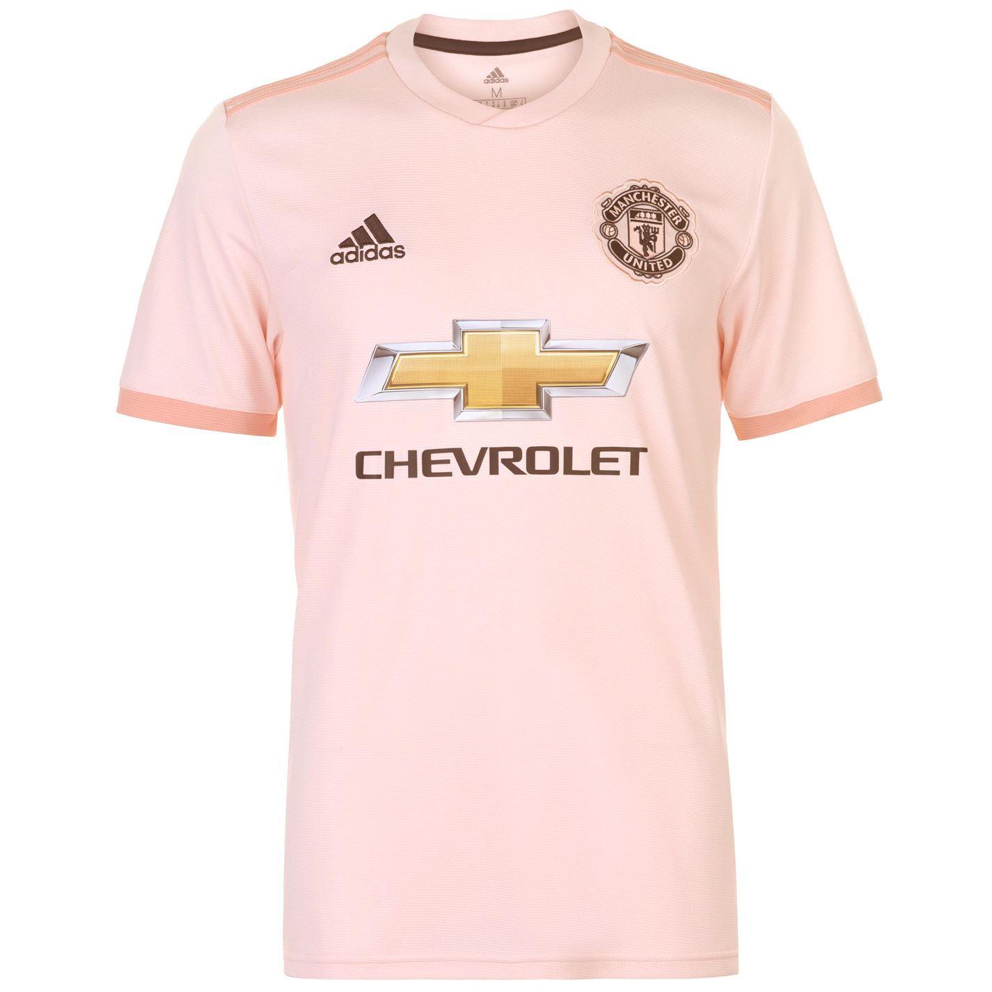 6c79e14acb213 ... adidas Manchester United Away Jersey 2018 19 Mens Pink Football Soccer  Shirt Top