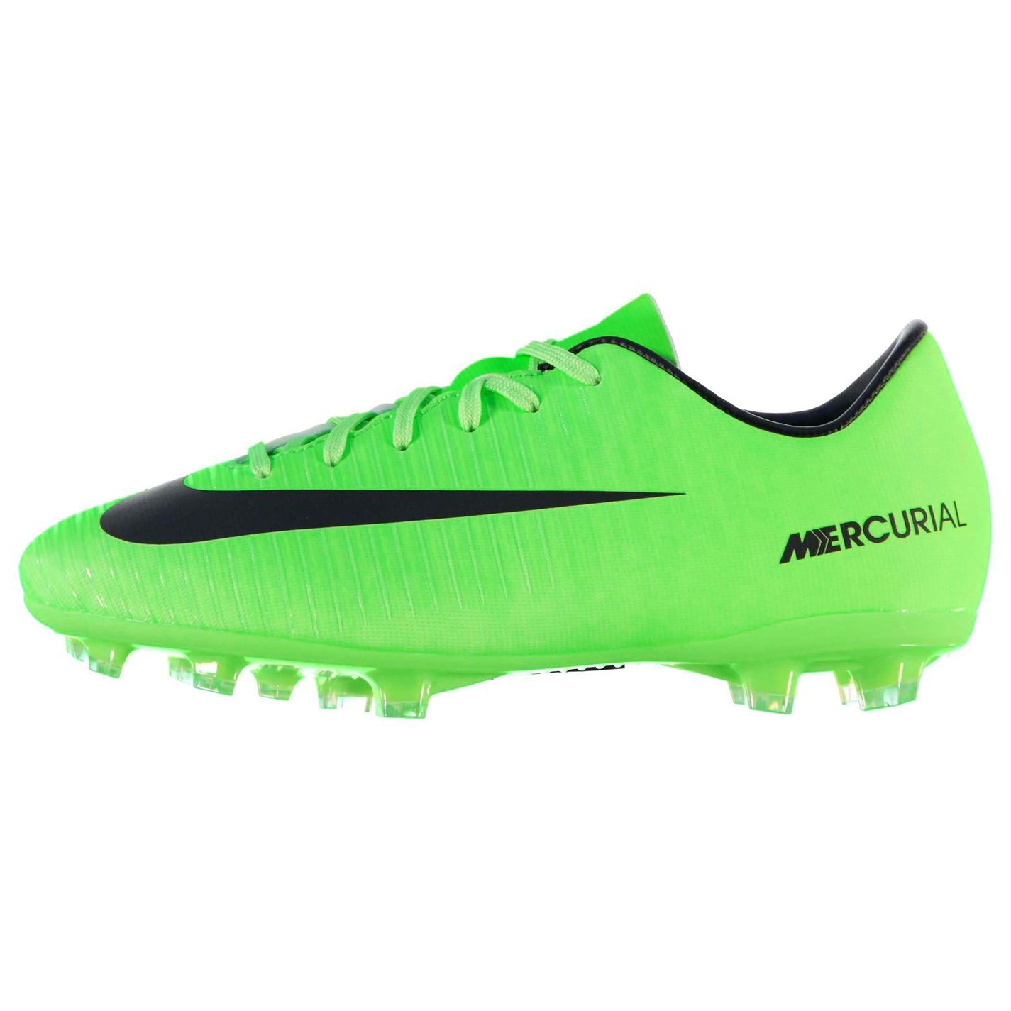 e27a7dfc0ae ... Nike Mercurial Vapor Firm Ground Football Boots Juniors Green Black  Soccer Shoes ...
