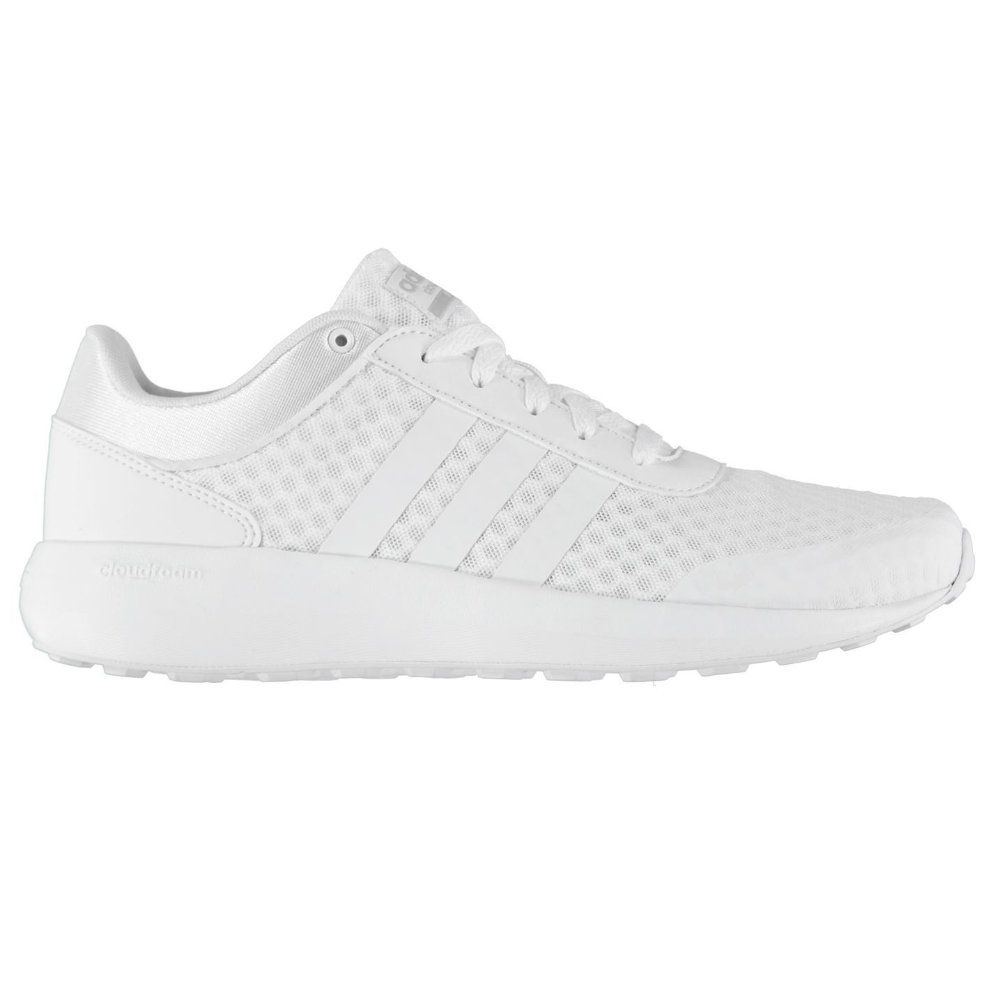... adidas Cloudfoam Race Trainers Mens White Athletic Sneakers Shoes ...
