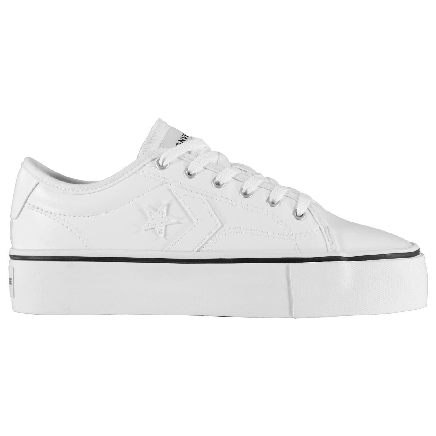 Details zu Converse Replay Plateau Turnschuhe Damen Schuhe Weiß Damen Freizeit Schuhwerk