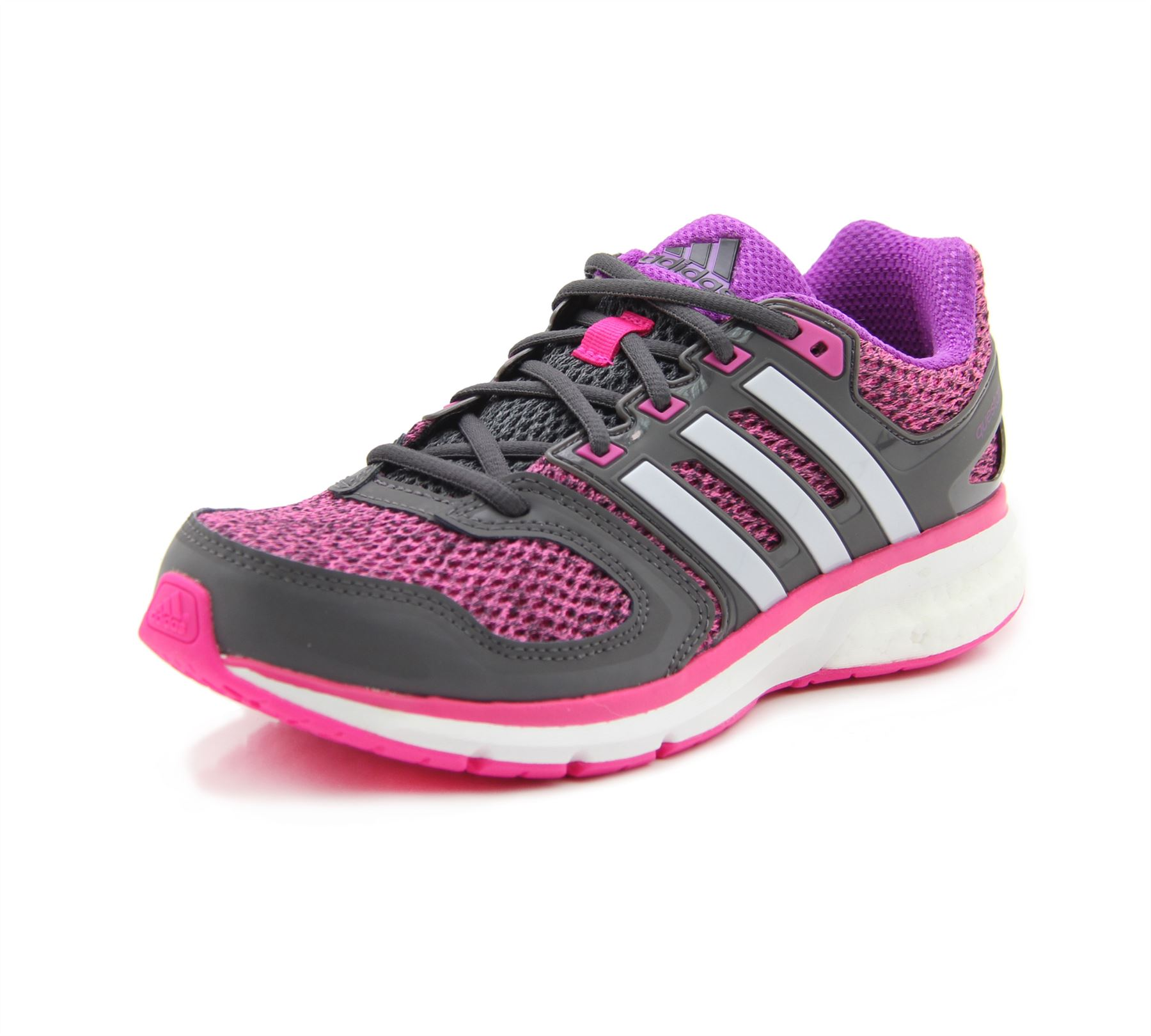 ... adidas Questar Boost Running Shoes Womens Pink Grey Purple Fitness  Trainers ... e567e6d7b2