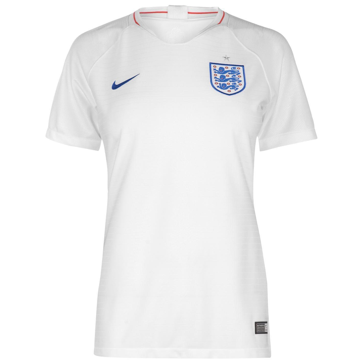 ... Nike England Home Jersey 2018 Womens White Blue Football Soccer Top  Shirt Strip ... b117c646b